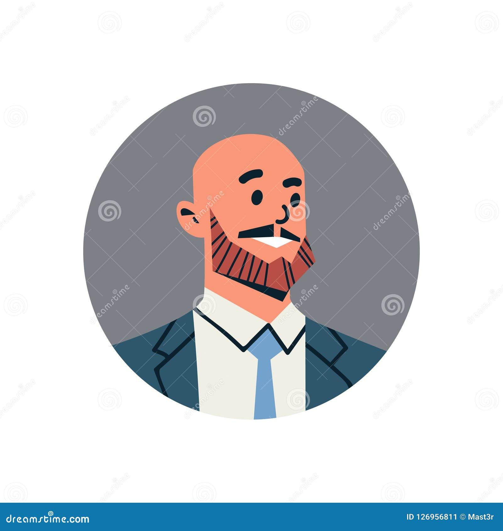秃头商人具体化人面孔外形象概念网上支助服务男性漫画人物画象