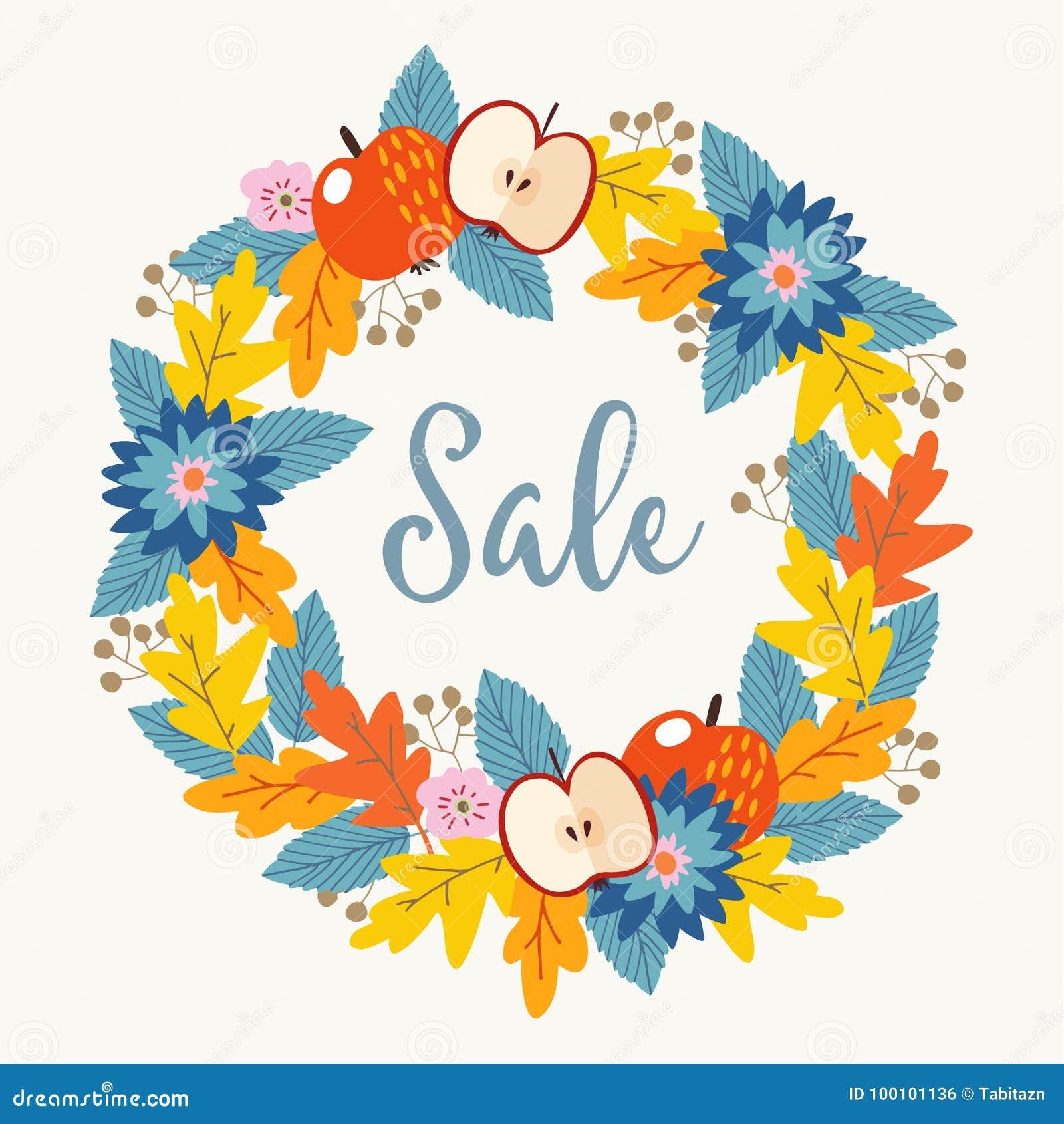 秋天、秋天销售海报与手拉的花卉花圈由五颜六色的橡木叶子制成,莓果、花和苹果结果实