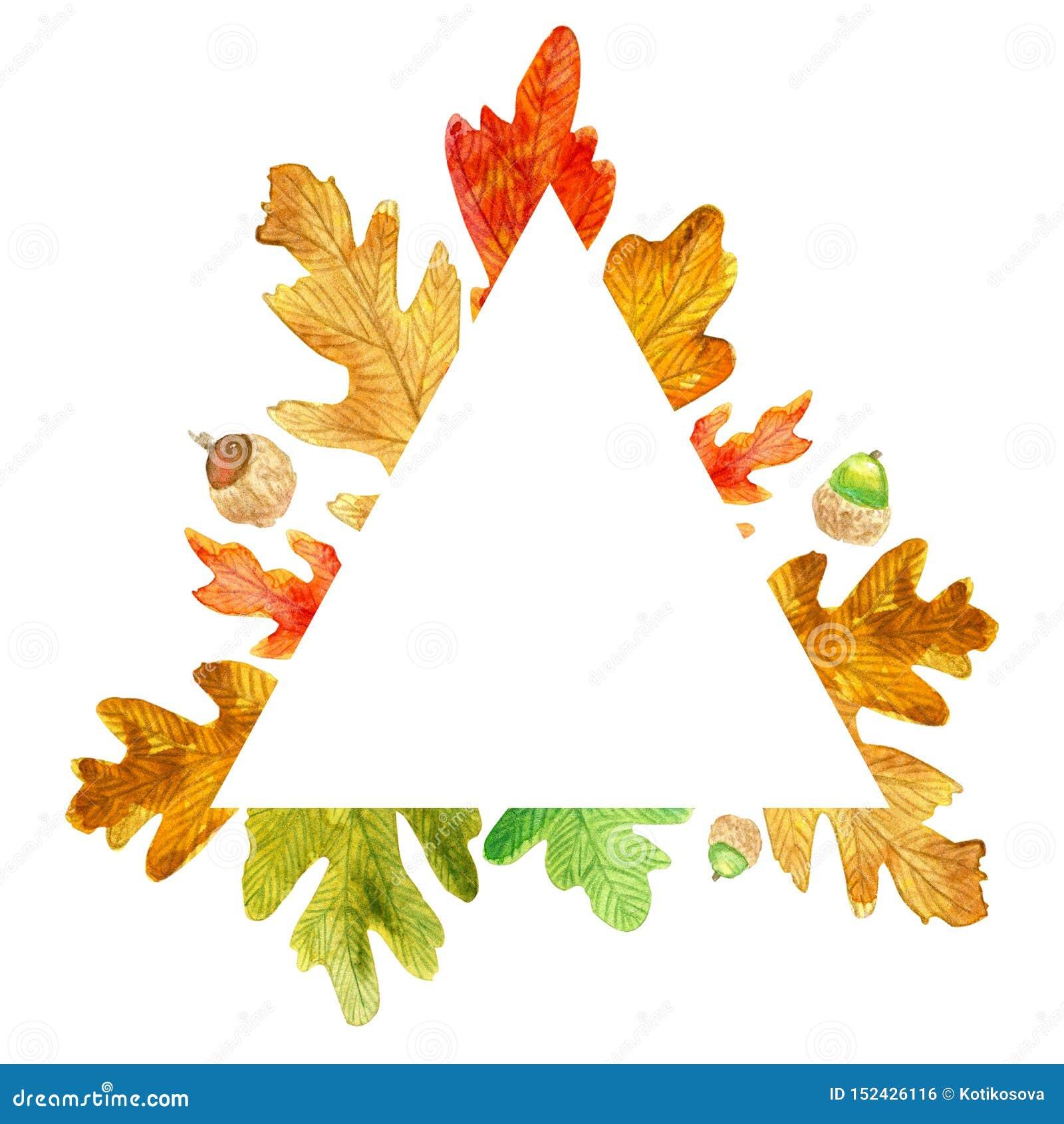 秋天三角框架 水彩橡木叶子