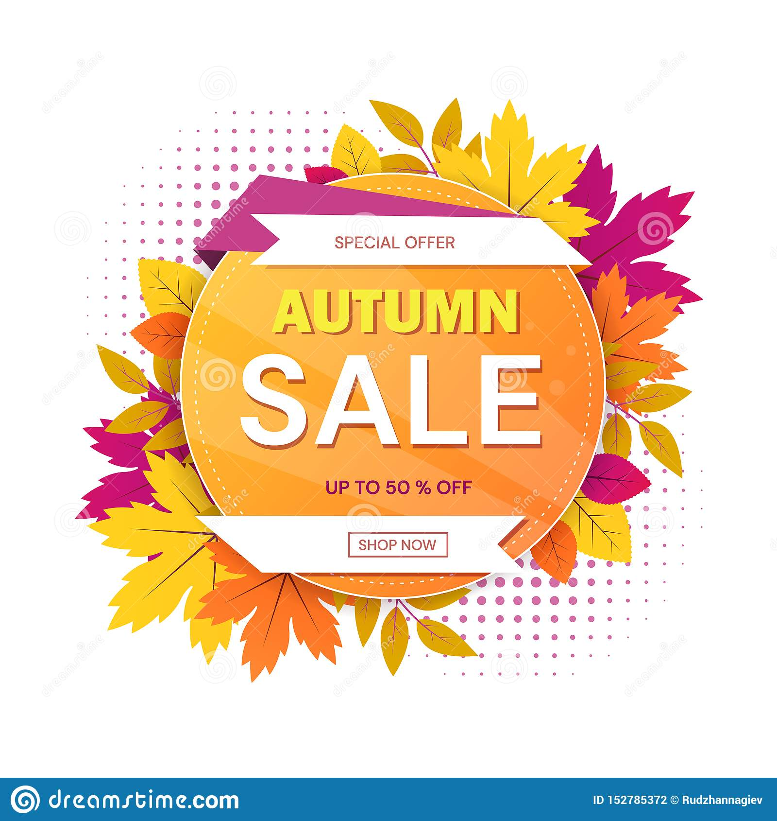 秋天与圆主题的销售标志与季节性特价和50 的五颜六色的叶子围拢的文本