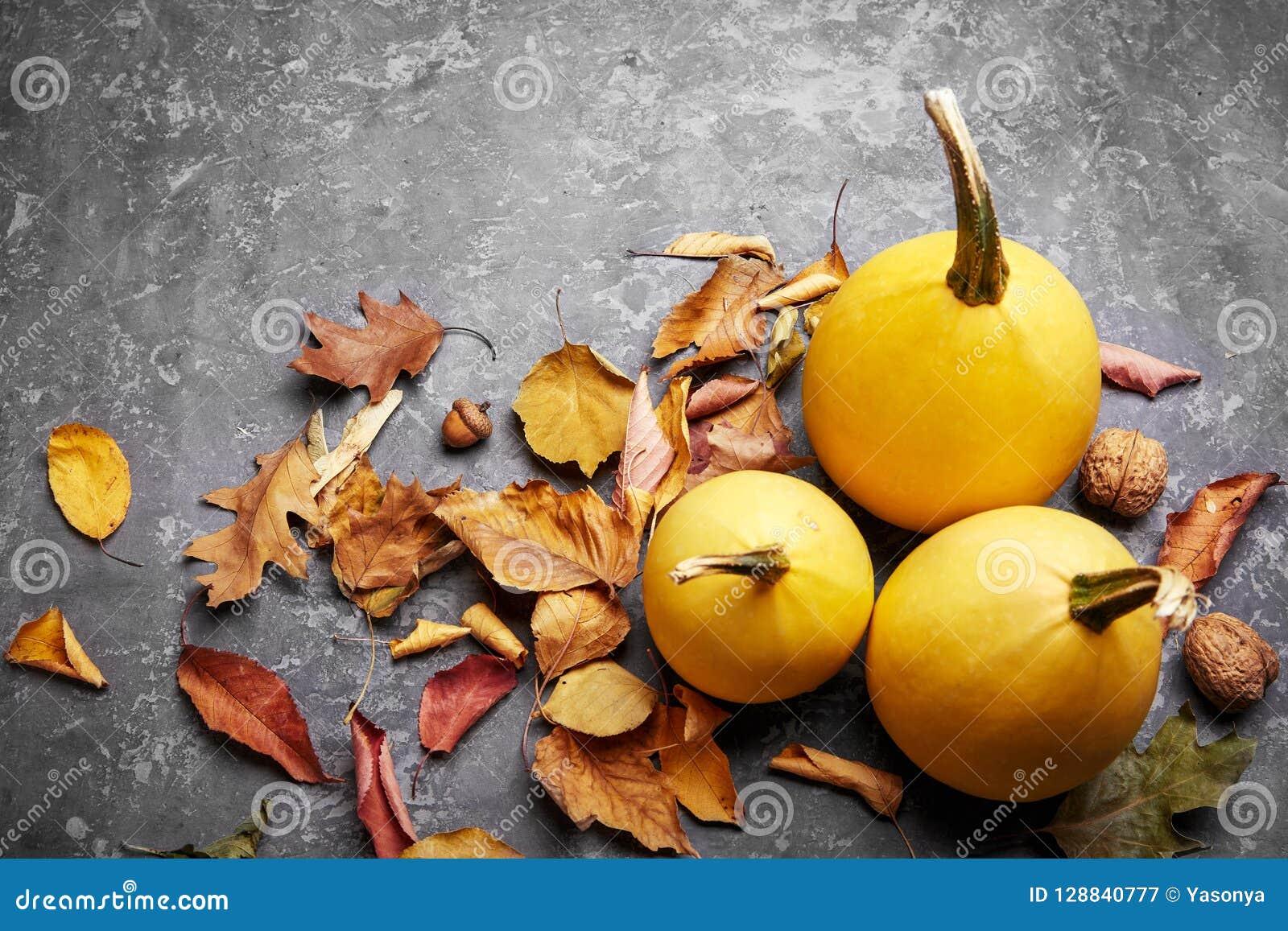 秋天与黄色叶子的静物画南瓜