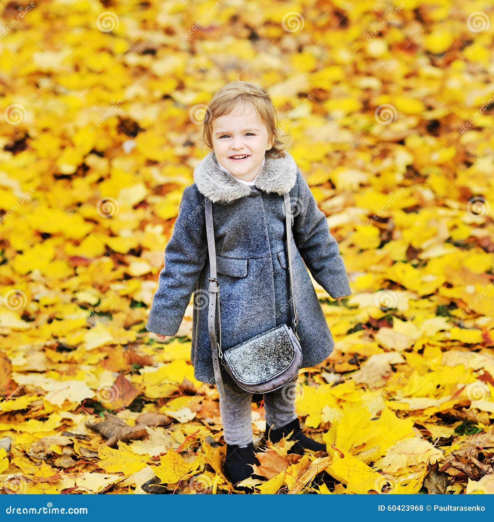 秋天叶子的逗人喜爱的小女孩在公园