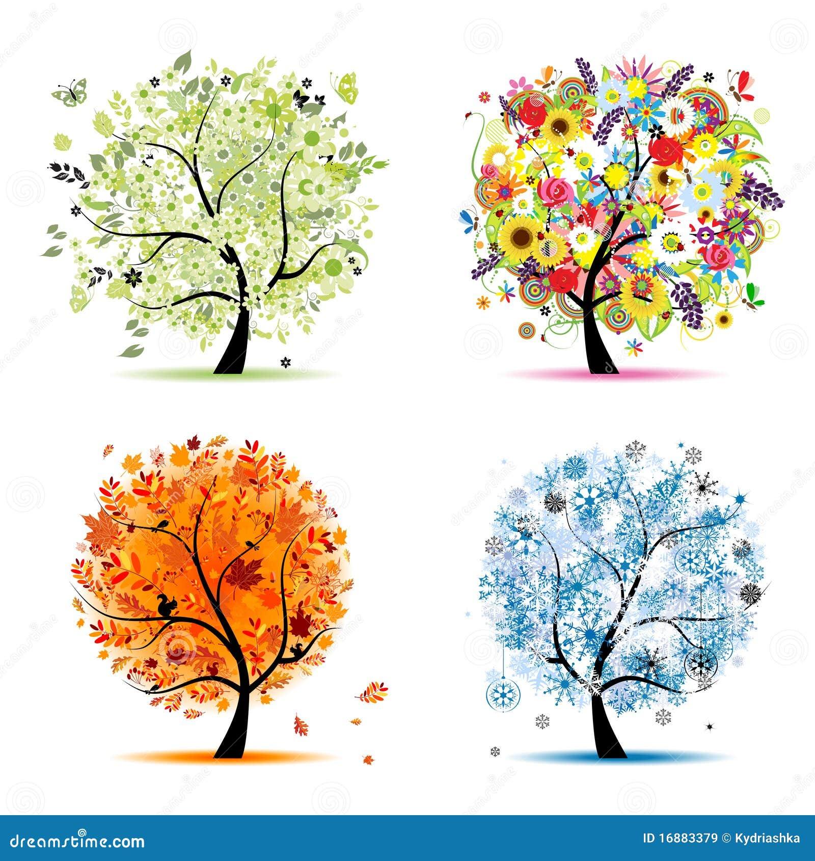 秋天美好的设计四个季节春天夏天您结构树的冬天