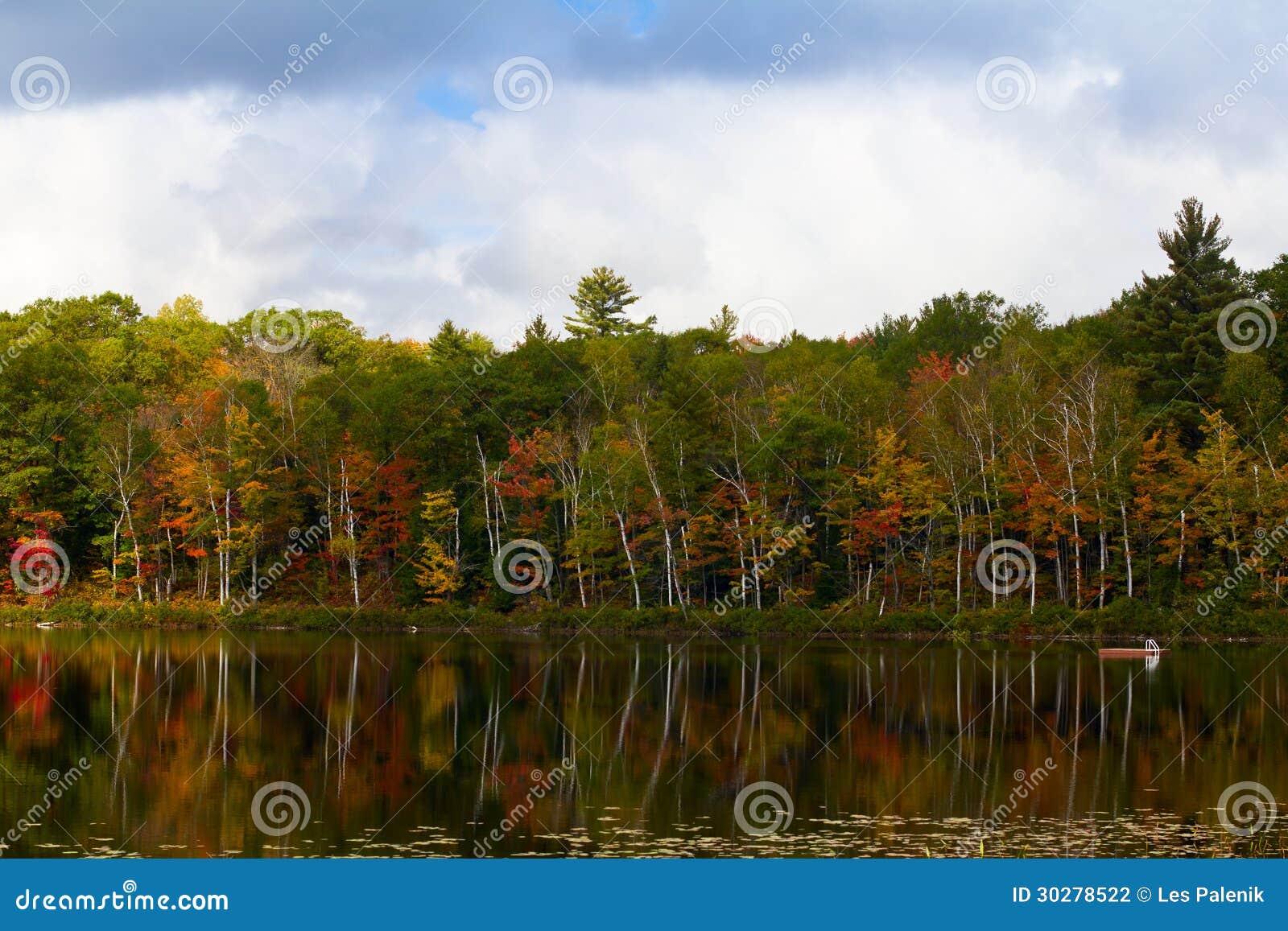 在一个小湖的秋天场面