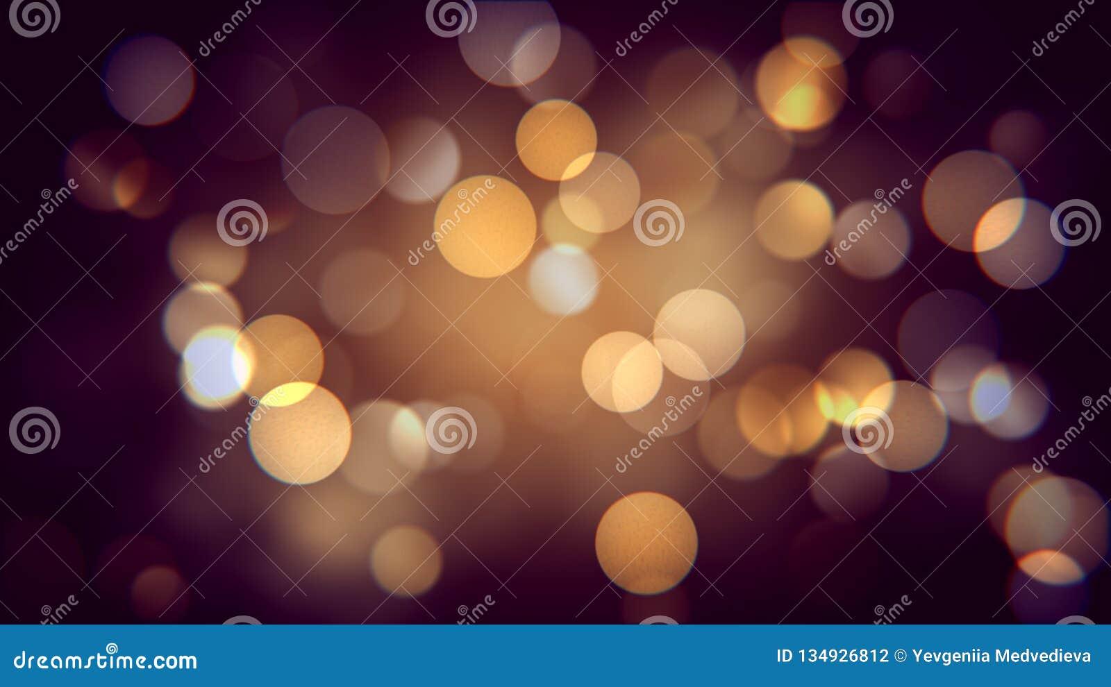 秋天夜的金黄bokeh作用 温暖的被弄脏的sparcles背景影响