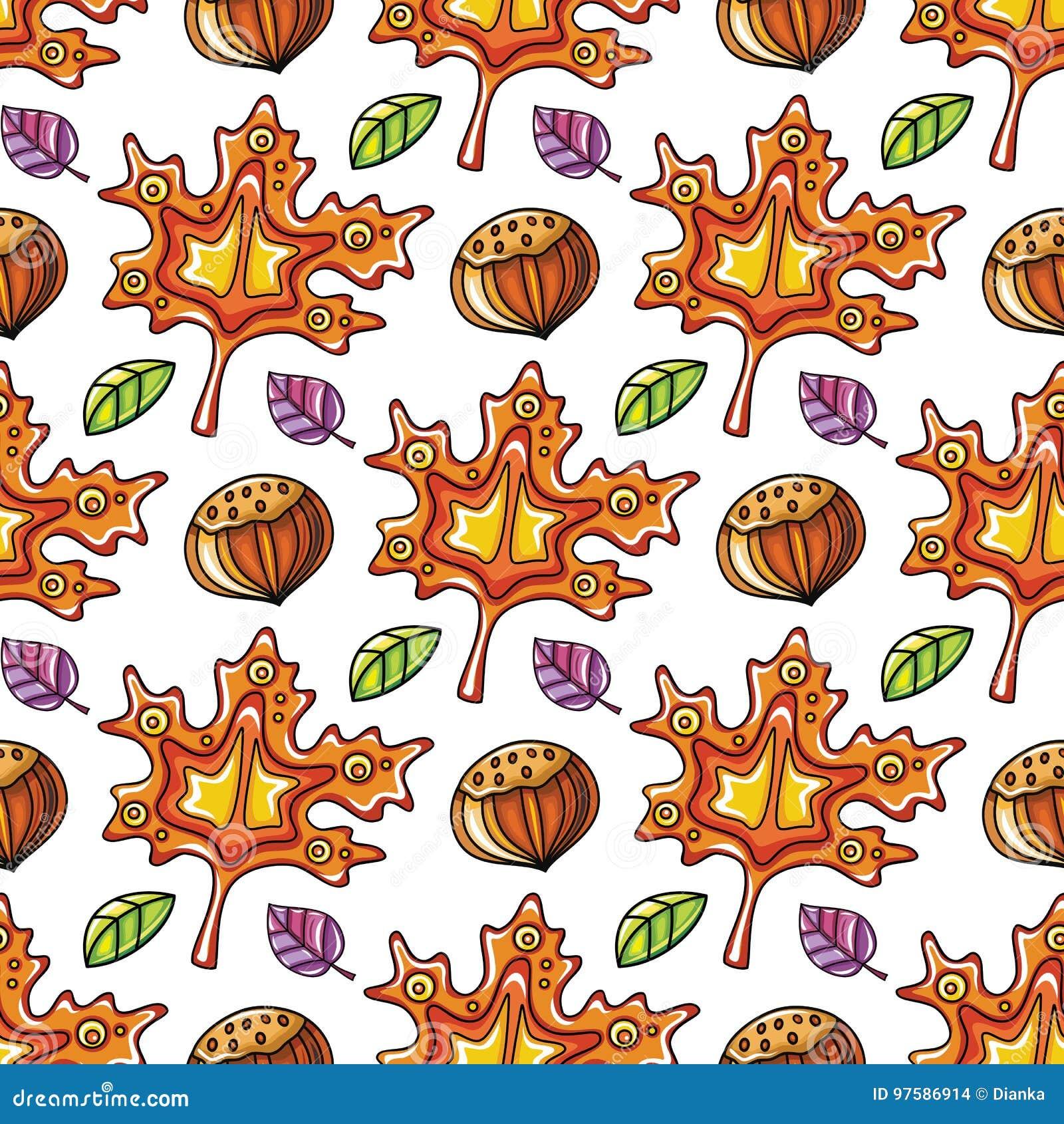 秋天无缝的样式系列