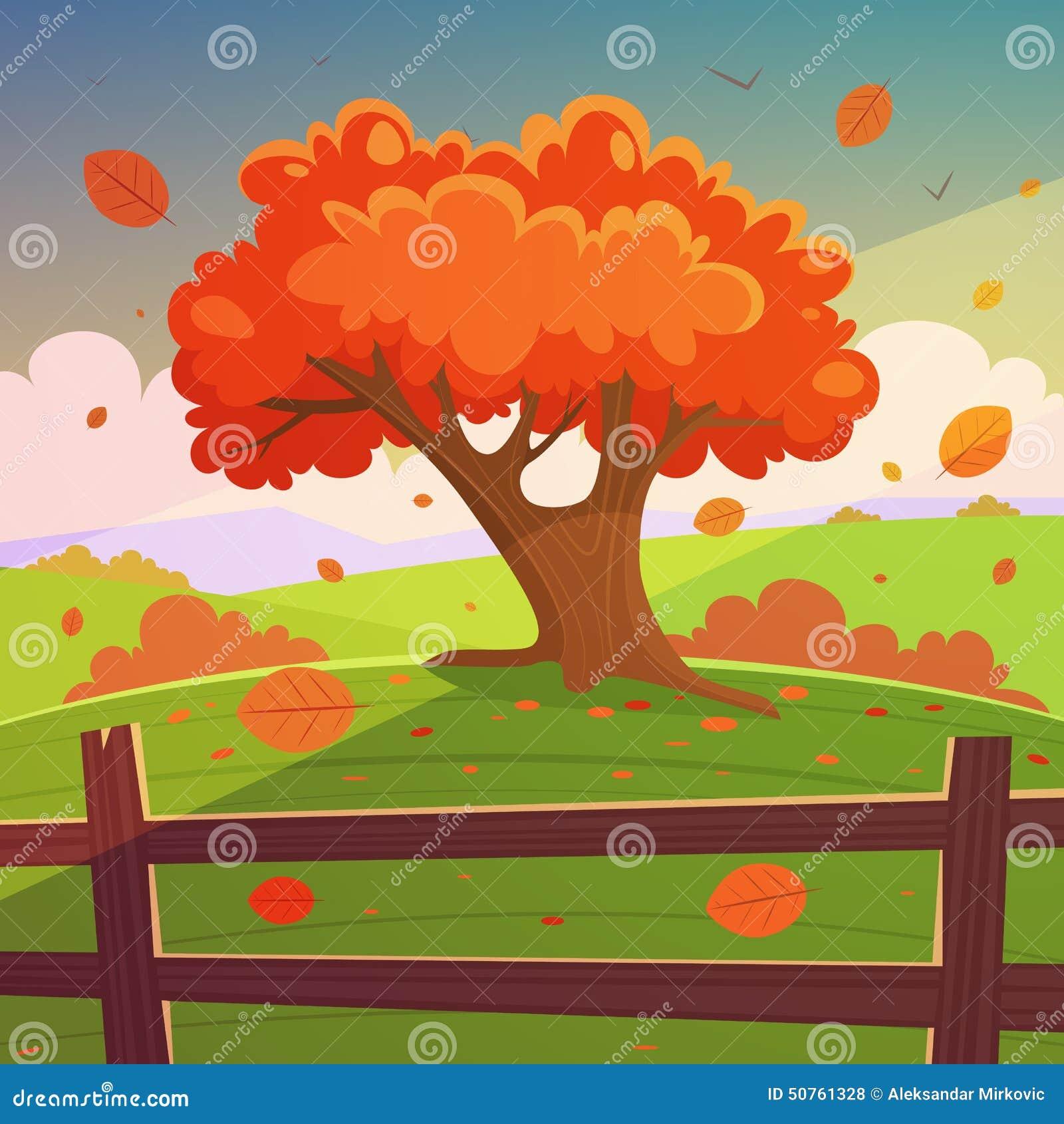 树的动画片例证在小山的与木篱芭,秋天风景.图片