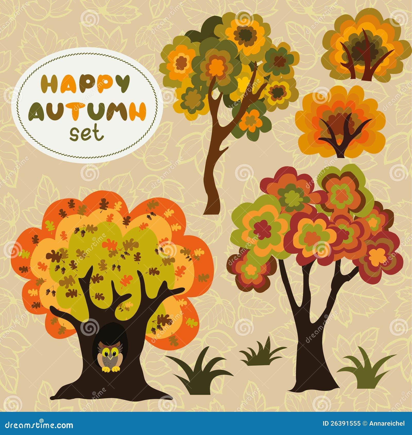 风格化动画片套在秋天颜色的结构树和灌木. 能分别地使用与背景.图片