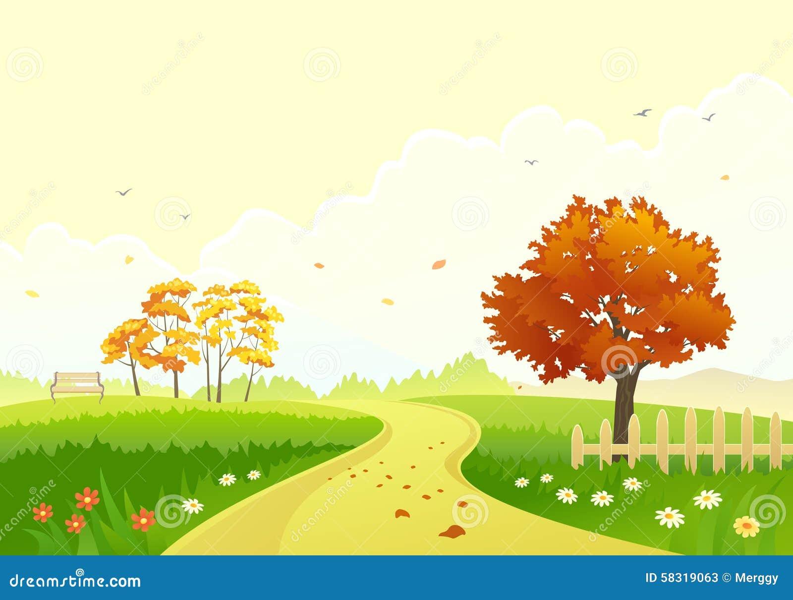 动画片, 横向, 秋天, 范围, 叶子, 庭院, 落叶, 逗人喜爱, 图画图片