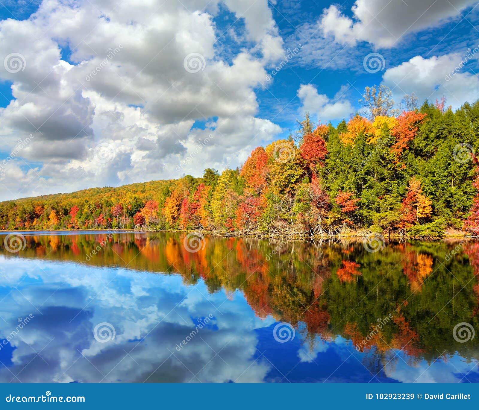 秋天风景在海湾Mountain湖上色了与反射的树在Kingsport,田纳西