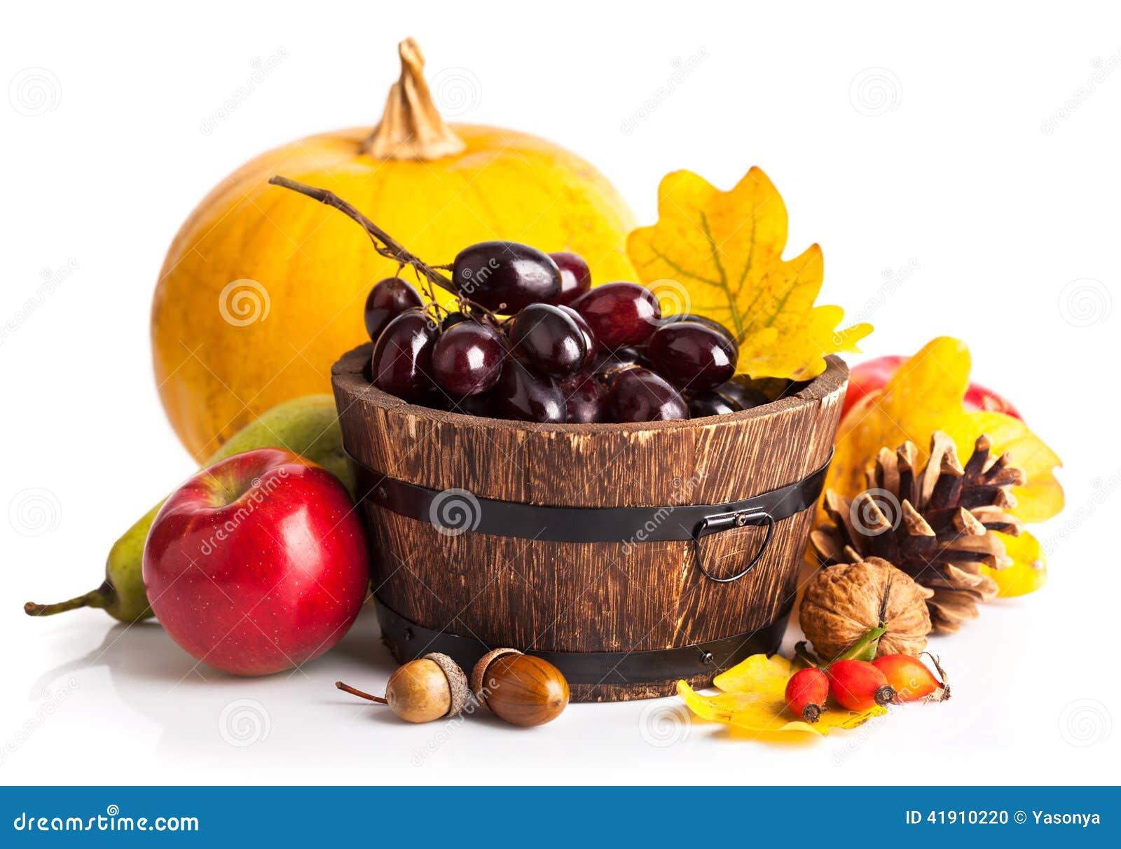 秋季收获水果和蔬菜