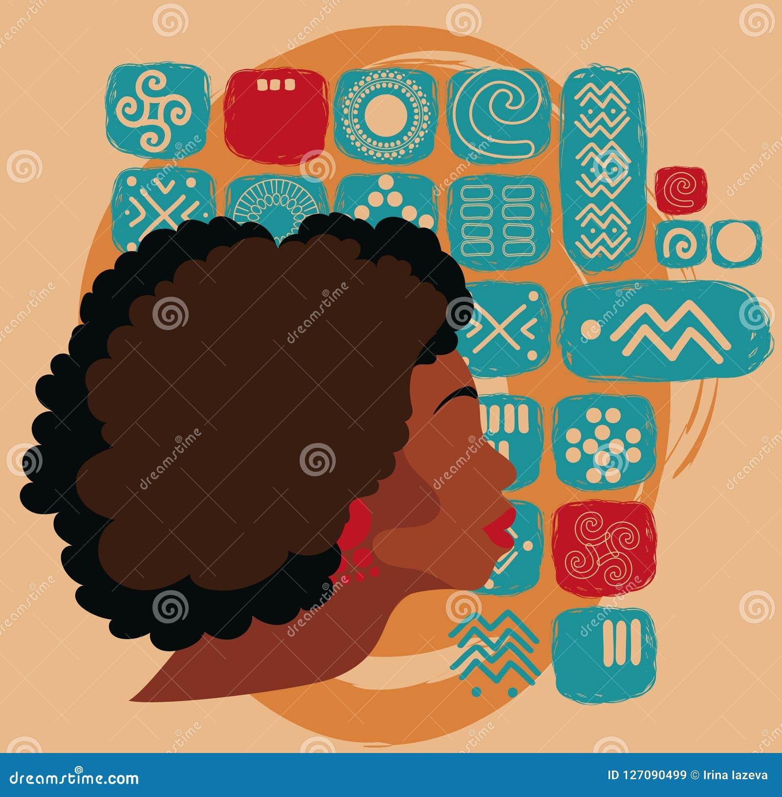种族装饰品的美丽的非裔美国人的妇女