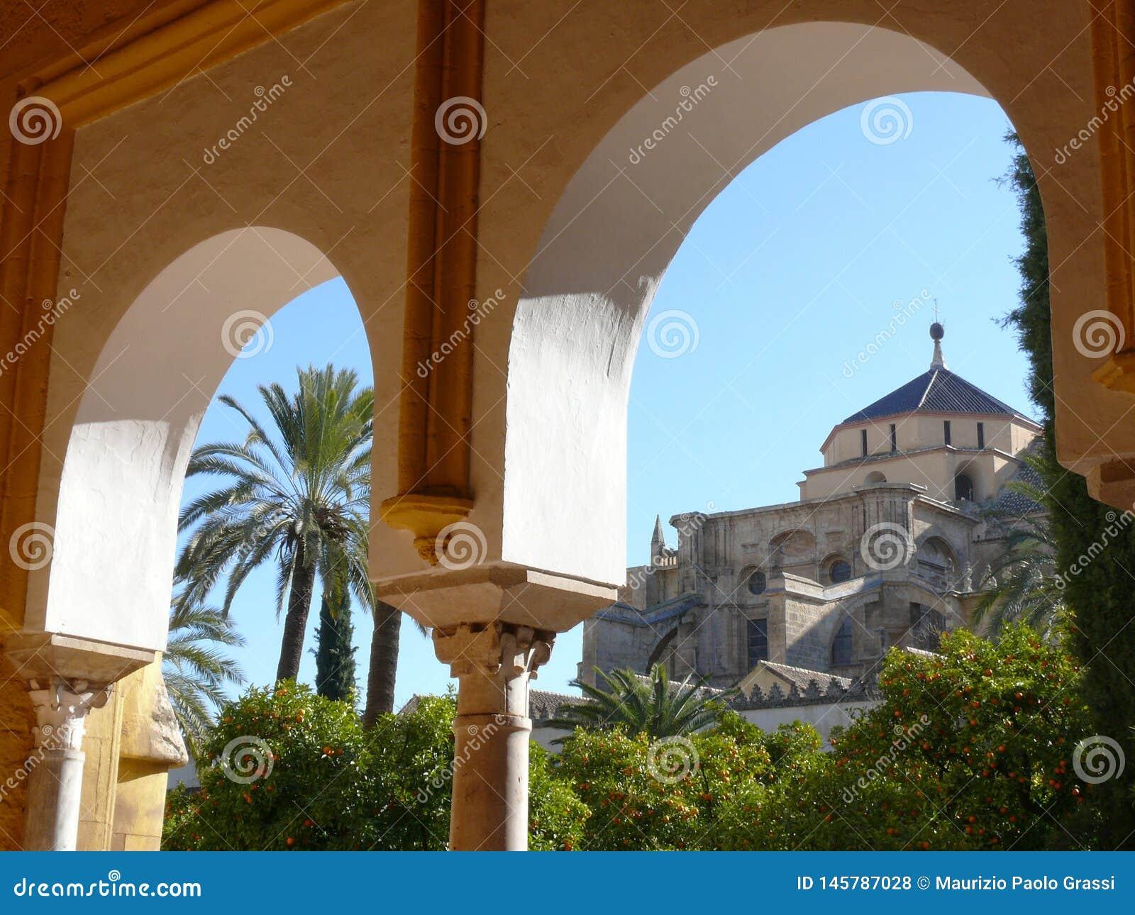 科多巴,西班牙,01/02/2007 清真寺的圆顶的cathe看法