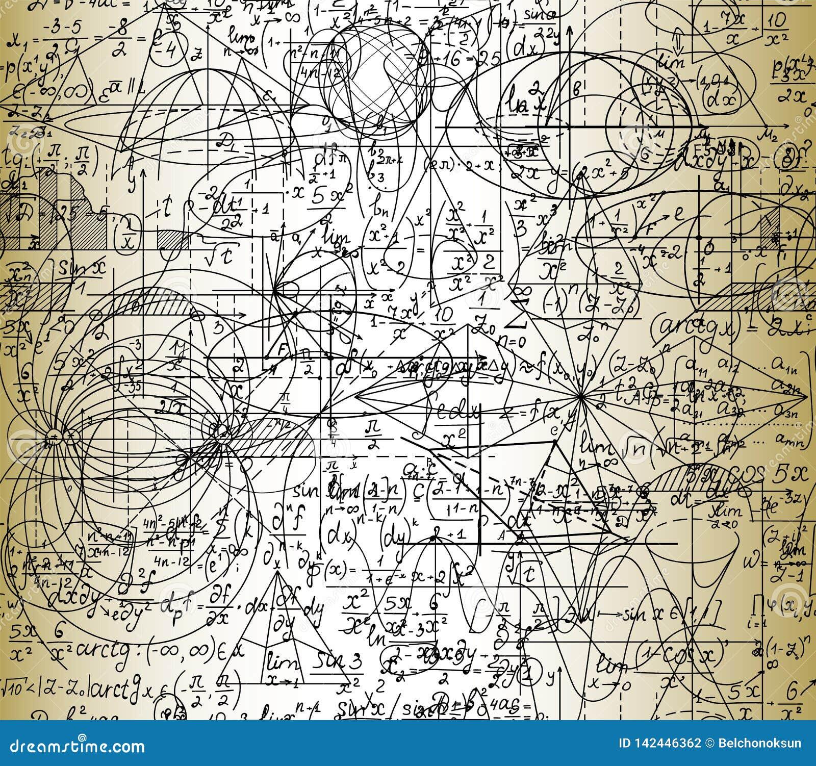 科学与手写的惯例,几何图和等式的算术传染媒介无缝的样式,一起拖曳了