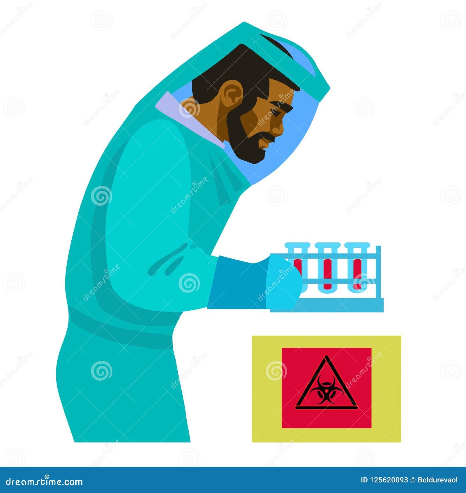 科学家与生物危害物质一起使用 拿着试管的生物防护套服的人 的滤过性病原体学者