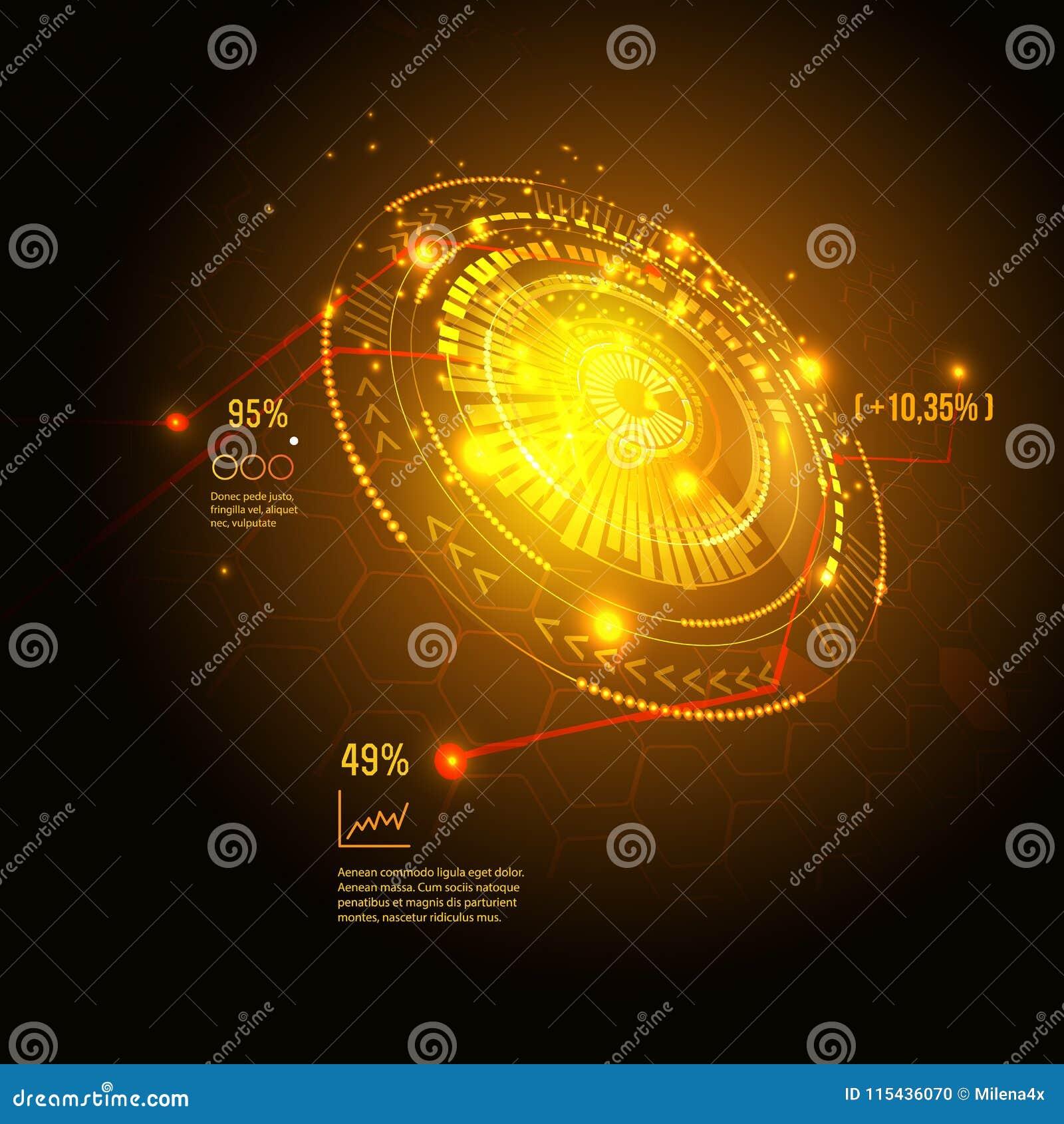 科学幻想小说未来派用户界面 HUD元素 也corel凹道例证向量