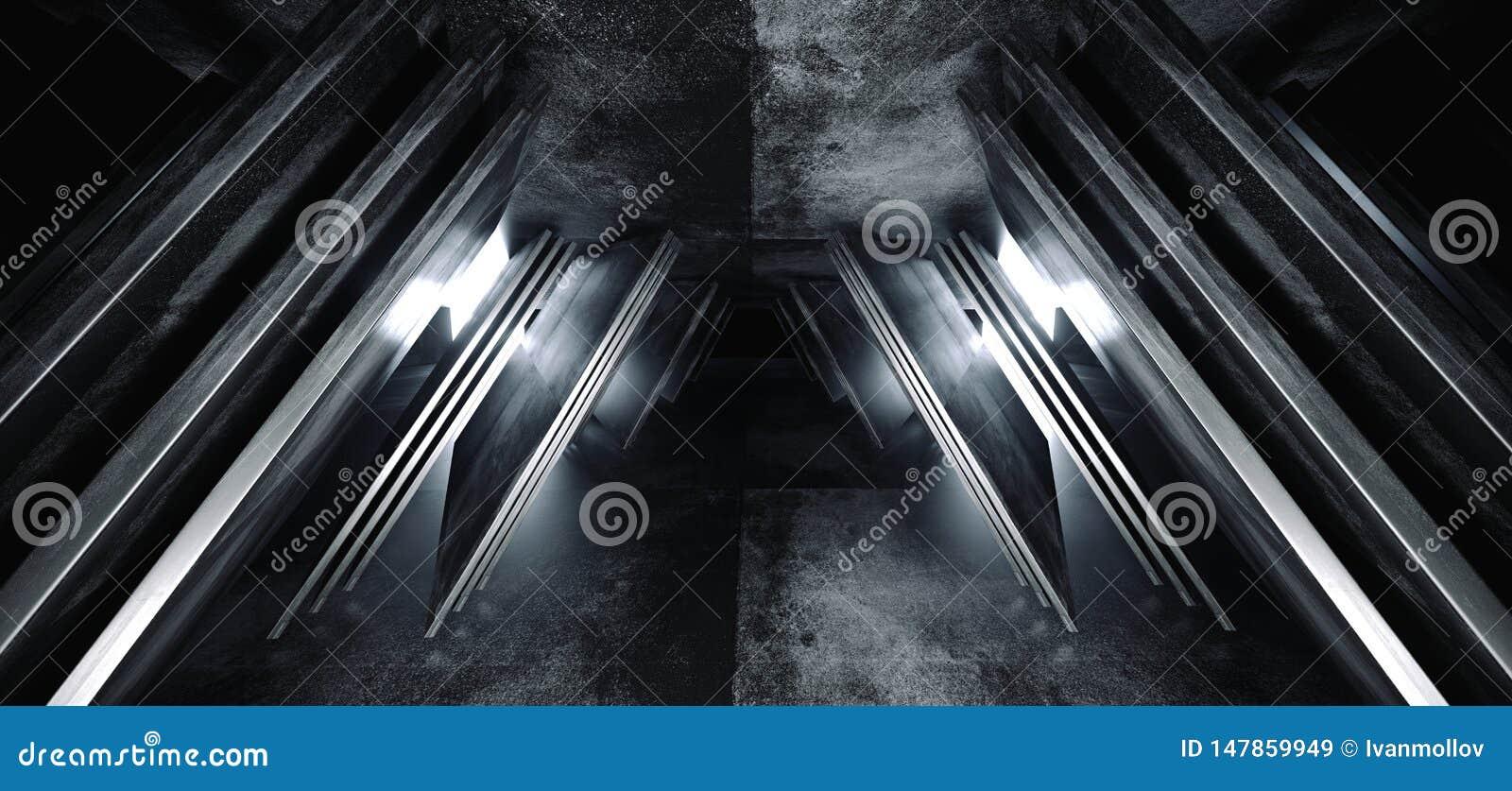 科学幻想小说未来派真正太空飞船摘要三角塑造了光滑的金属混凝土难看的东西黑暗的空的白炽电影走廊