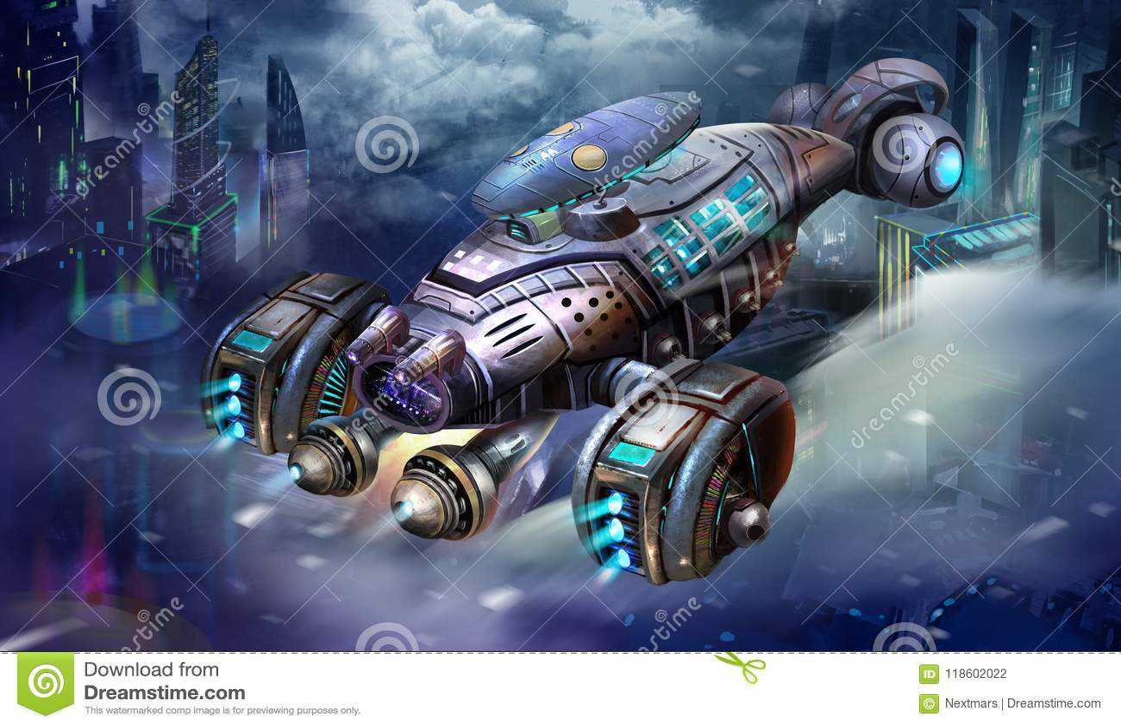 科学幻想小说航空器、虾太空飞船,科幻航天器和城市场面与意想不到,现实和未来派样式