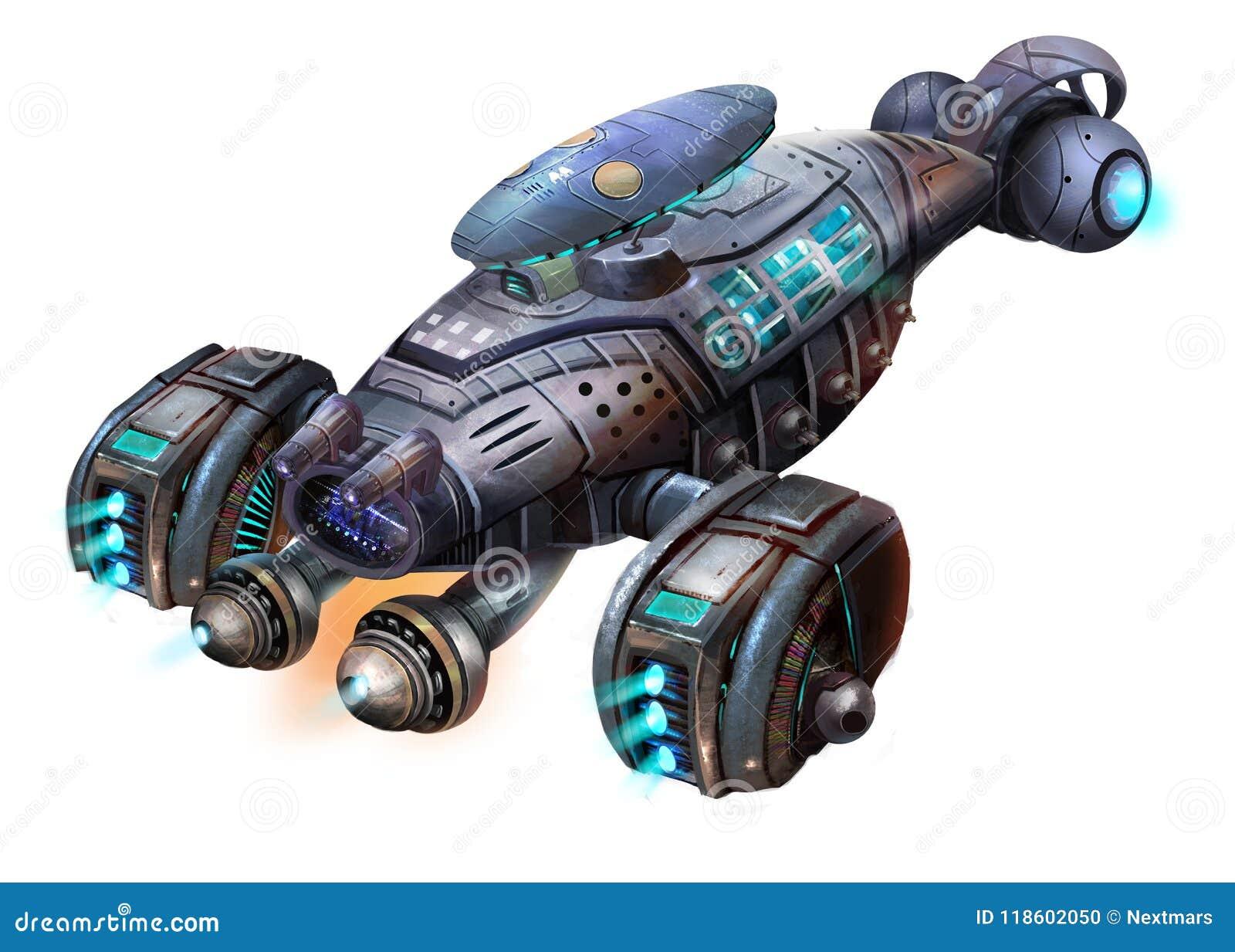 科学幻想小说航空器,虾太空飞船,在白色有意想不到,现实和未来派样式的科幻航天器隔绝的