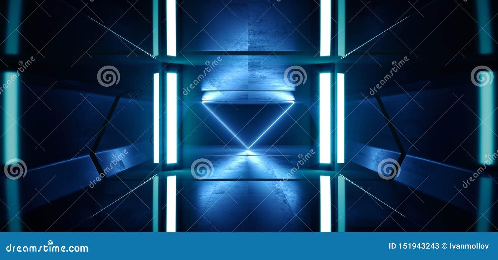 科学幻想小说霓虹灯未来派发光的蓝色激光夜展示隧道走廊反射性具体外籍人太空飞船塑造黑暗