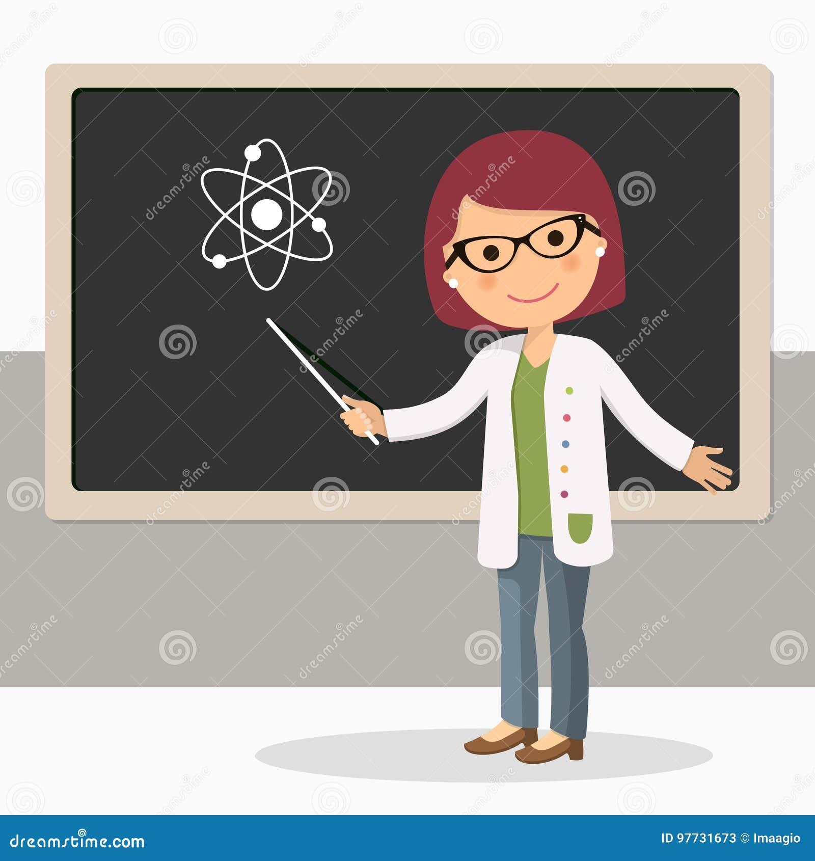 科学教训的年轻女老师在黑板在教室