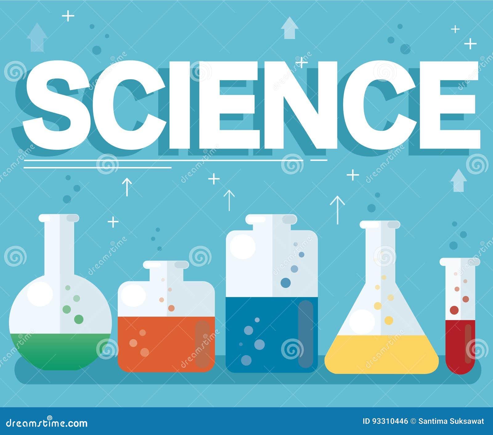 科学文本和五颜六色的实验室用清楚的液体和蓝色背景填装了