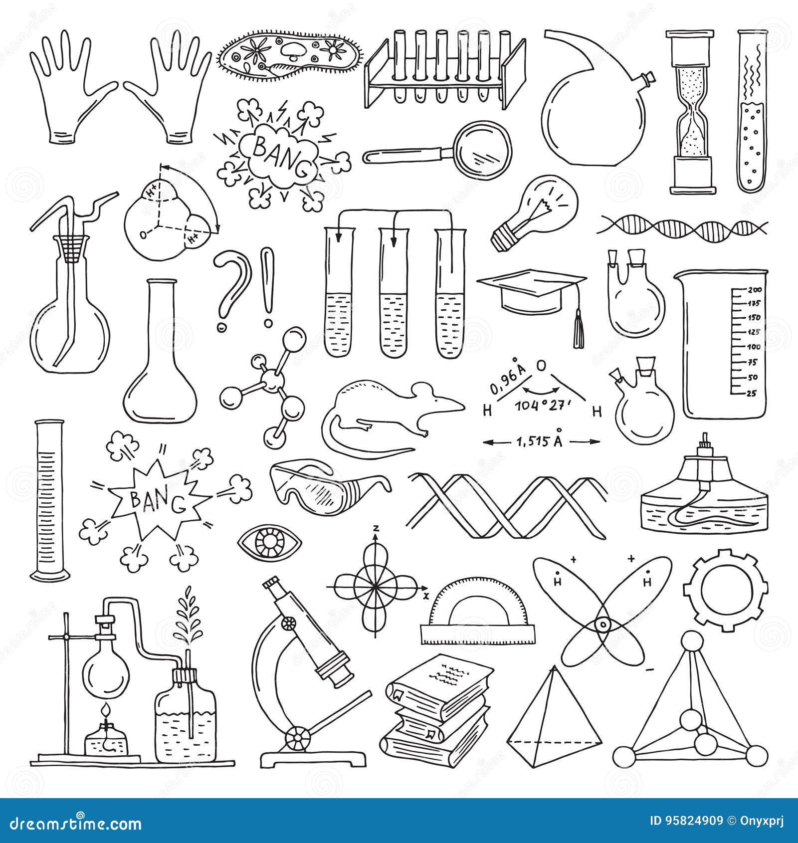科学标志黑剪影  化学和生物艺术 教育传染媒介元素集