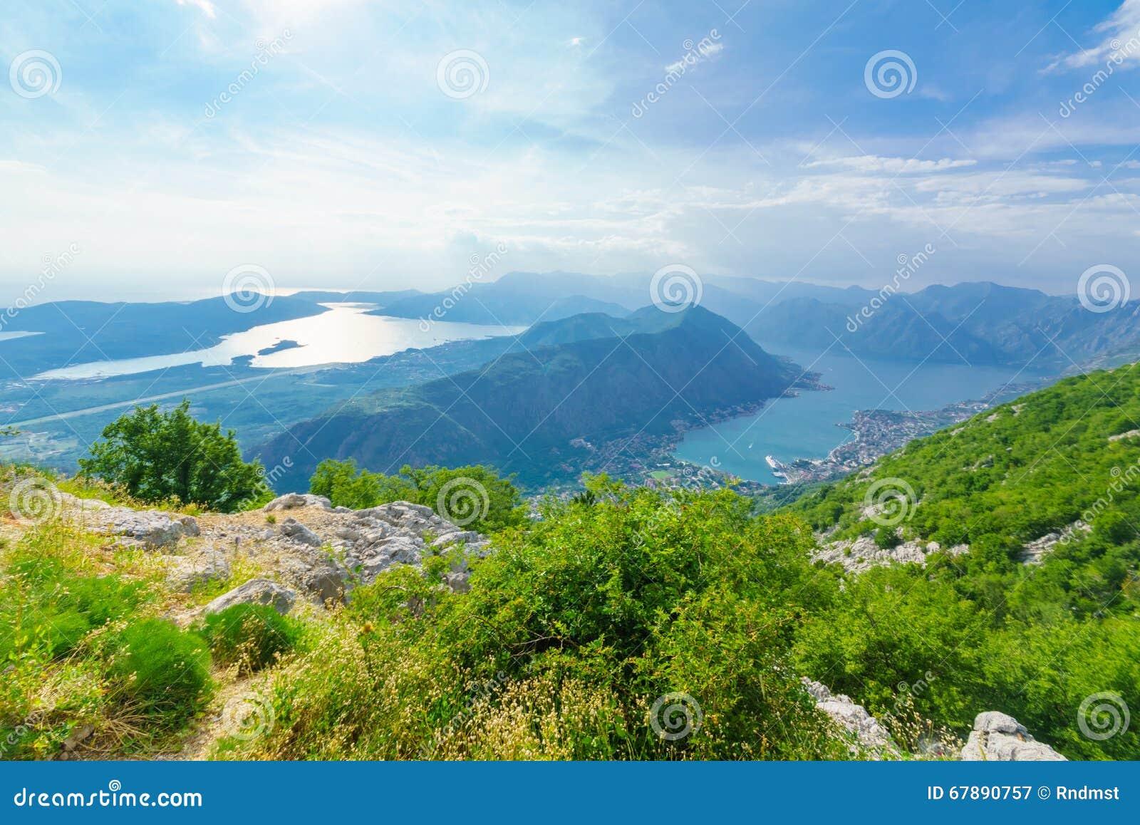 科托尔湾的看法从Lovcen山的