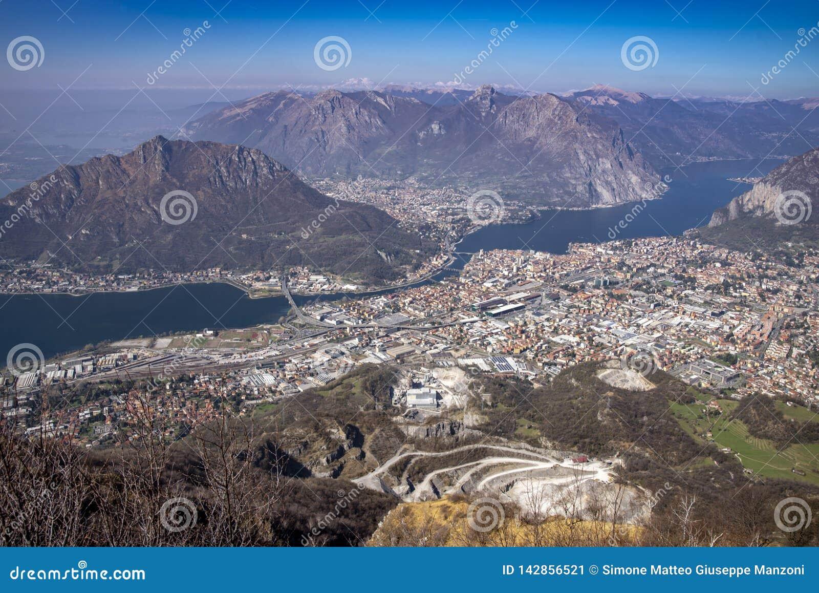 科莫湖和莱科市,意大利全景