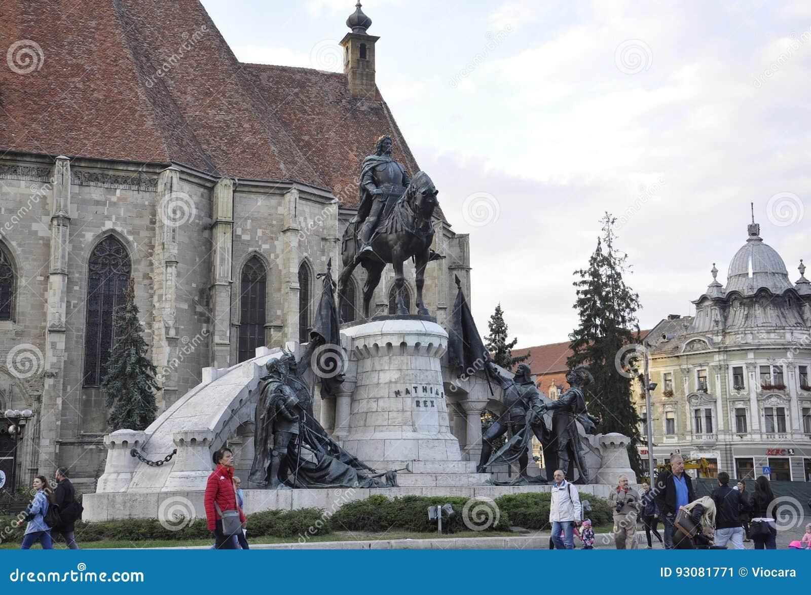 科鲁Napoca RO, 9月23th日:从科鲁Napoca联合广场的Matei Corvin纪念碑从特兰西瓦尼亚地区的在罗马尼亚