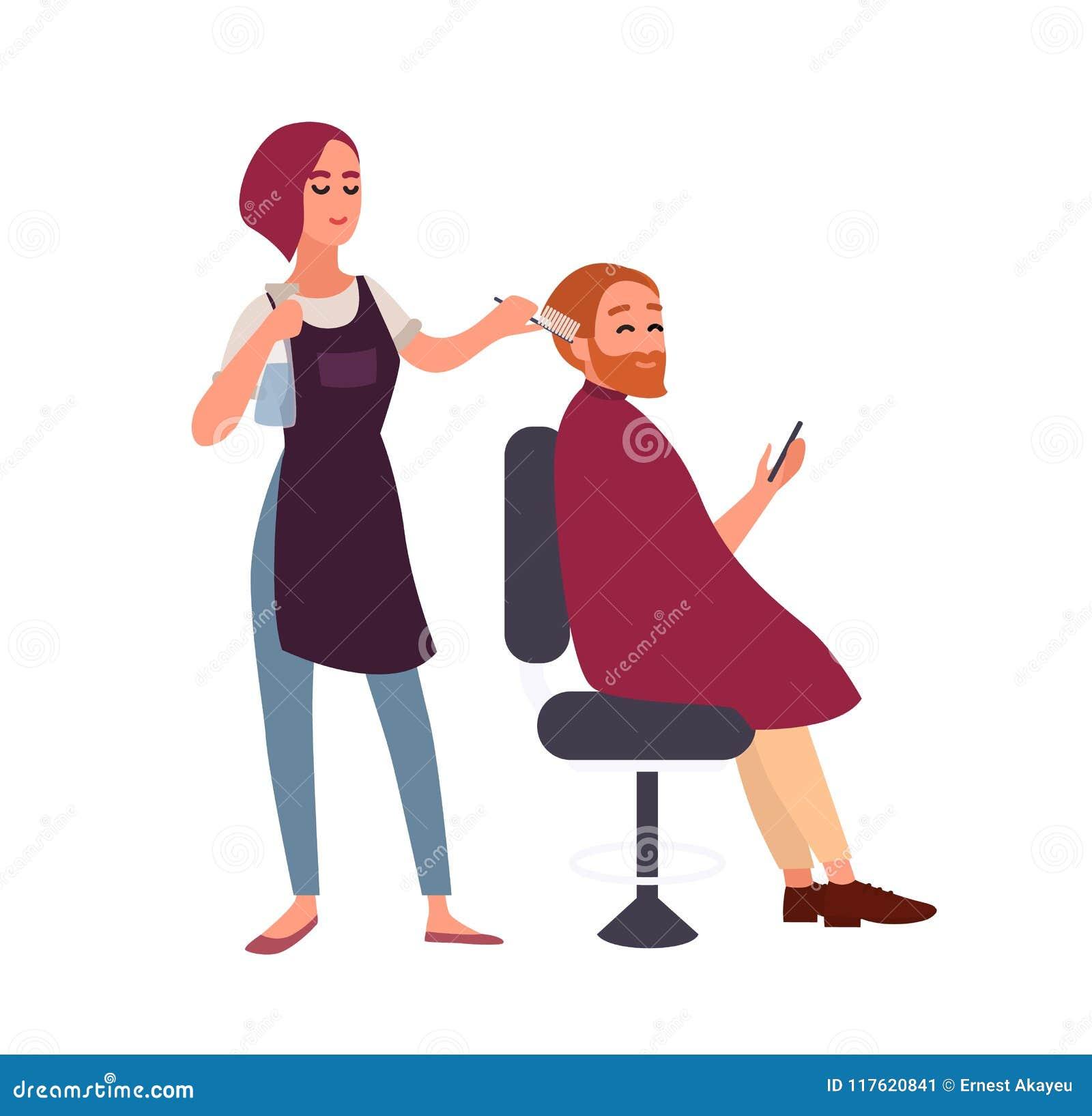 称呼她微笑的男性客户的头发的女性美发师坐在椅子和拿着智能手机 愉快的人