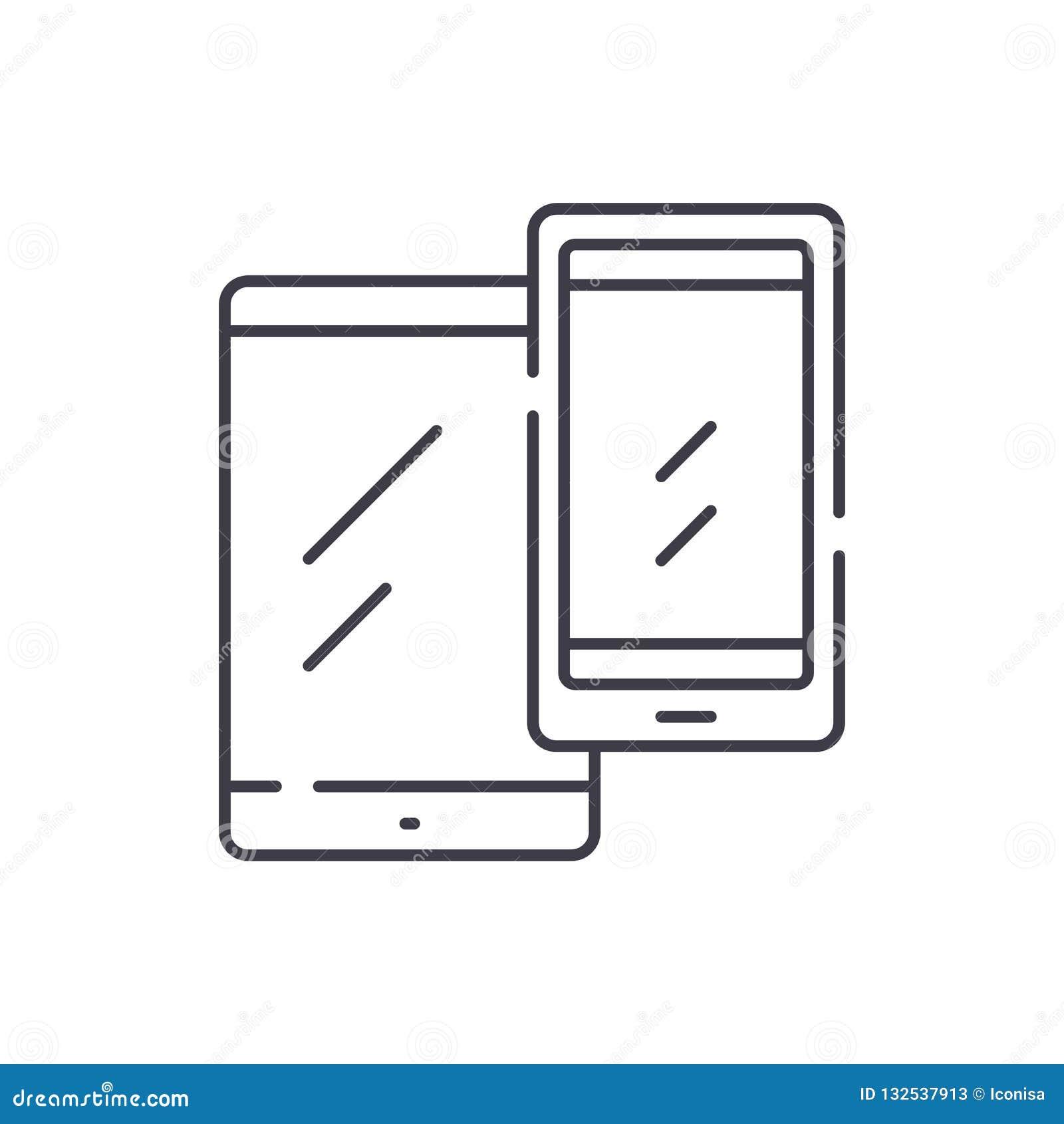 移动设备排行象概念 移动设备导航线性例证,标志,标志