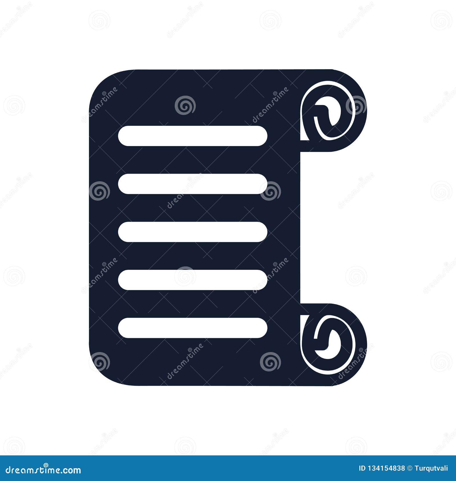 移动象在白色背景和标志隔绝的传染媒介标志,纸卷商标概念