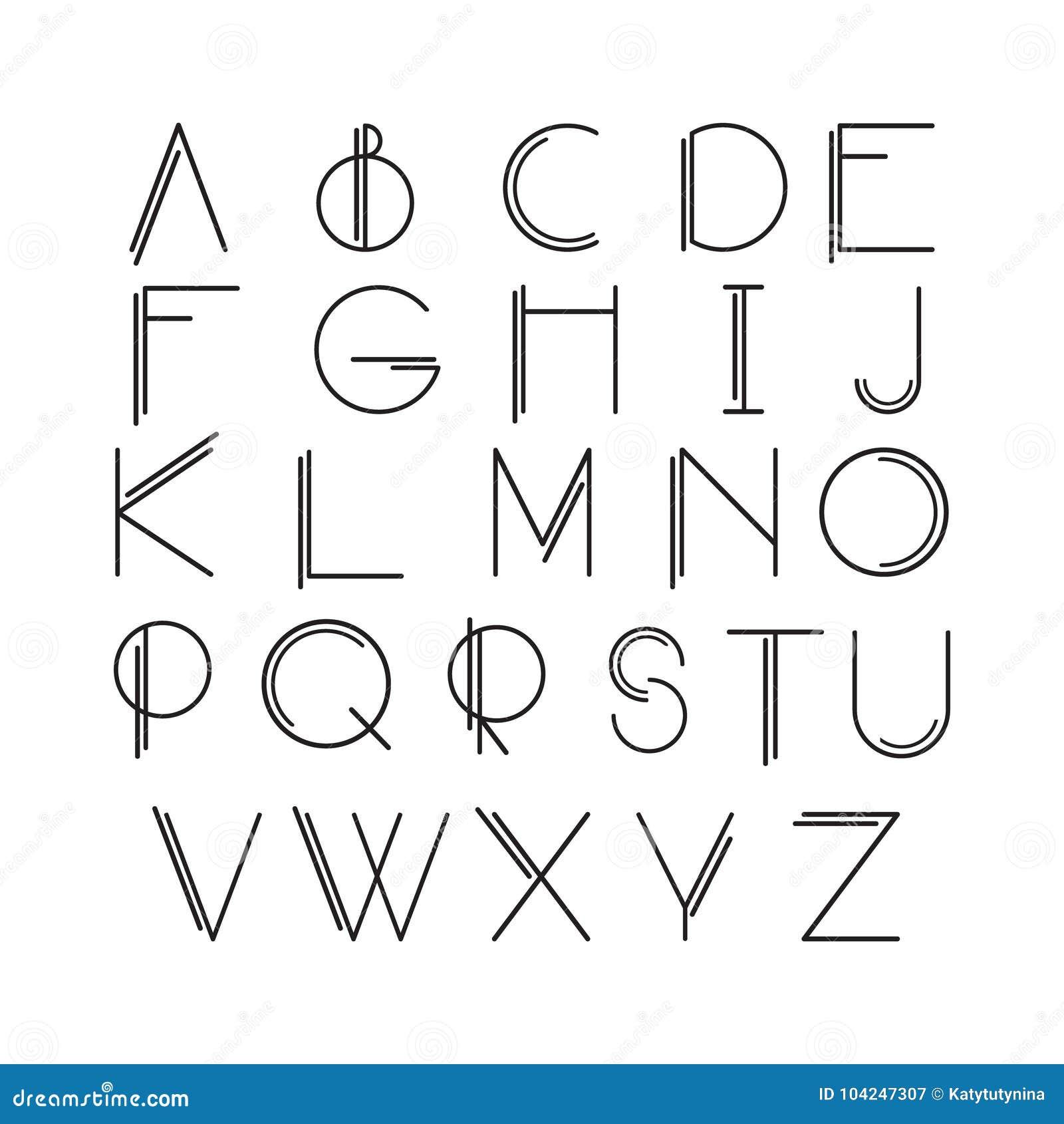 稀薄的线型,线性现代字体