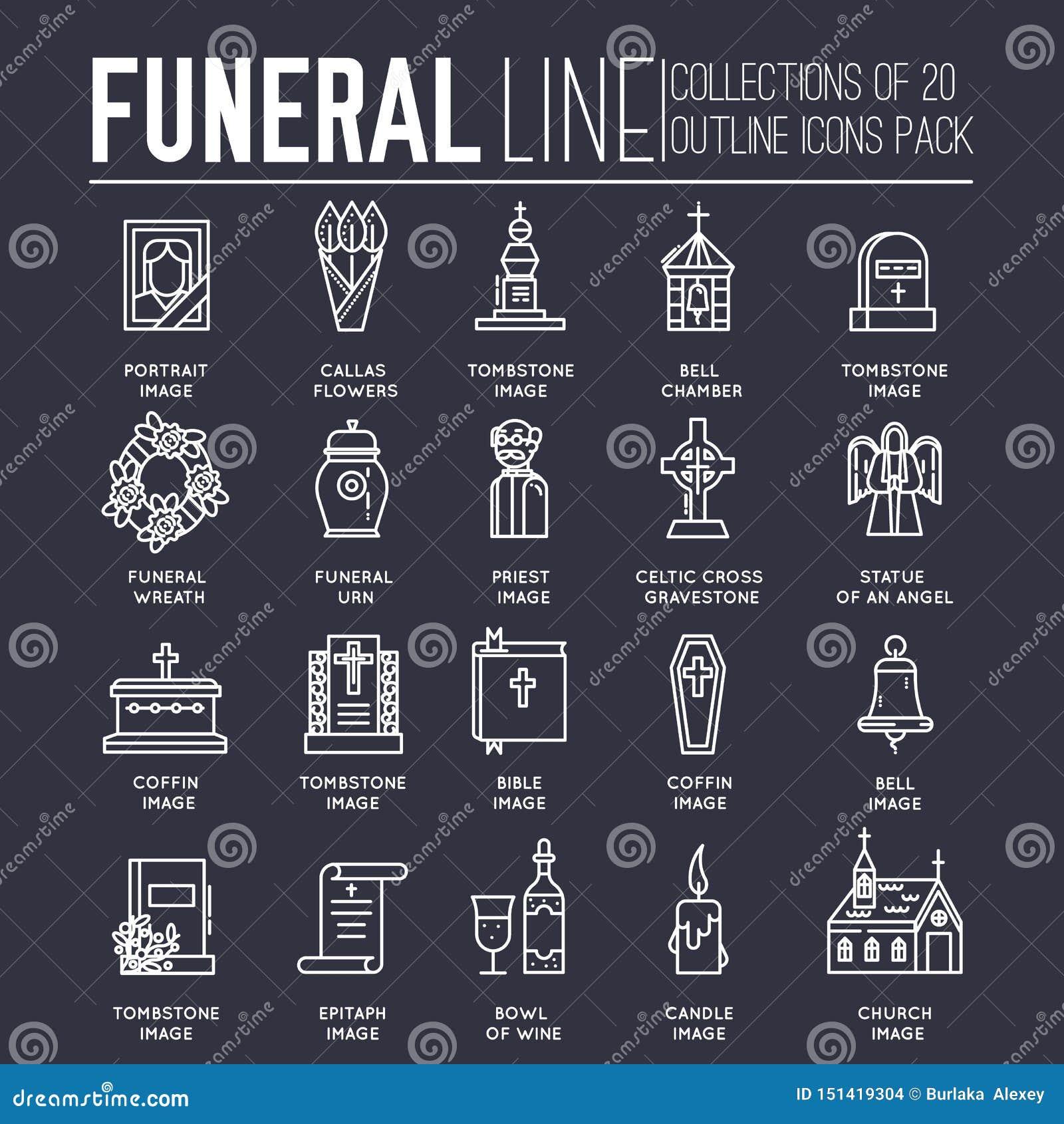 稀薄的线汇集象集合致力葬礼、死亡和公墓 传染媒介概述礼节属性为生活