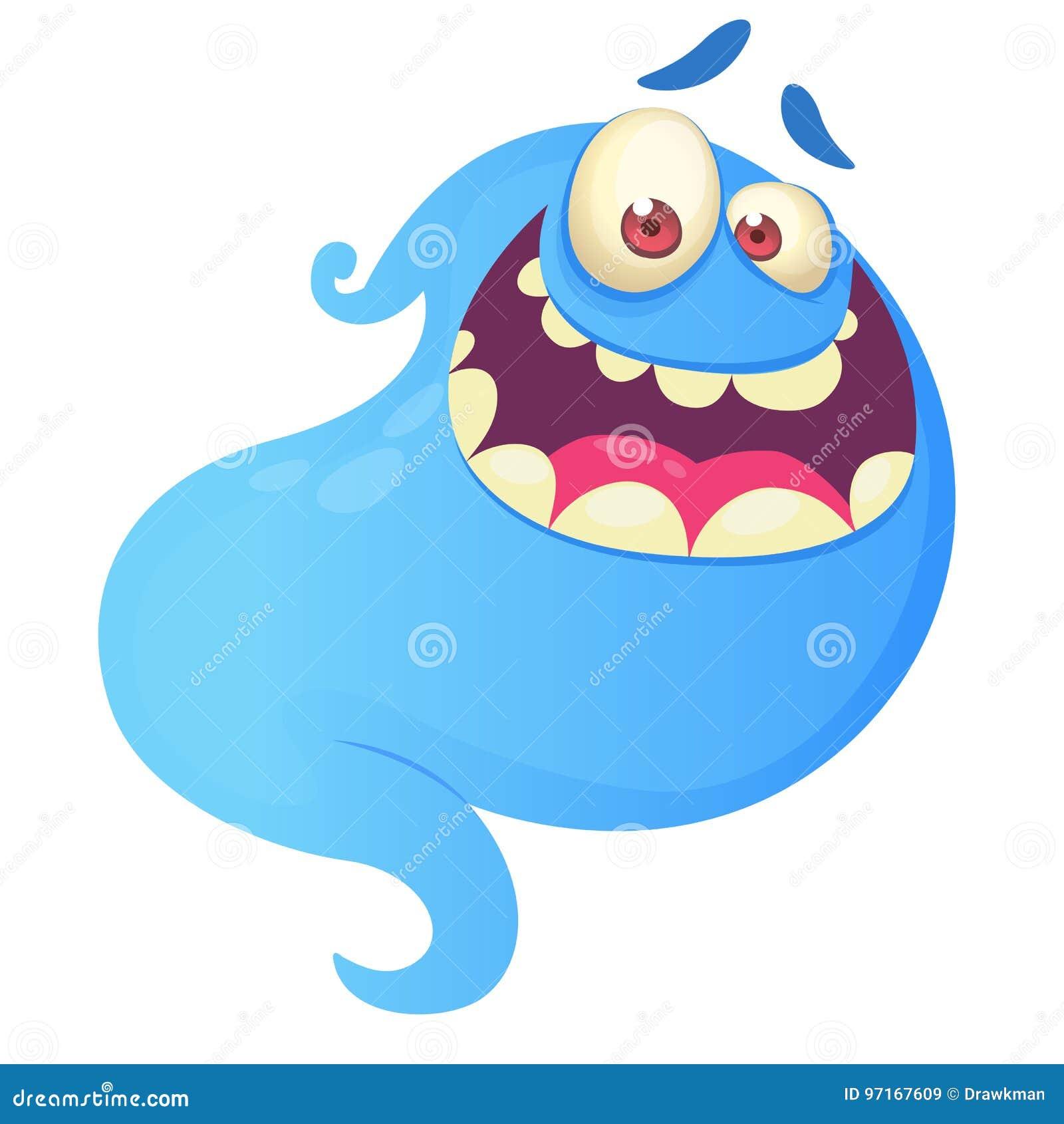 滑稽动画片鬼魂笑 传染媒介蓝色鬼魂例证