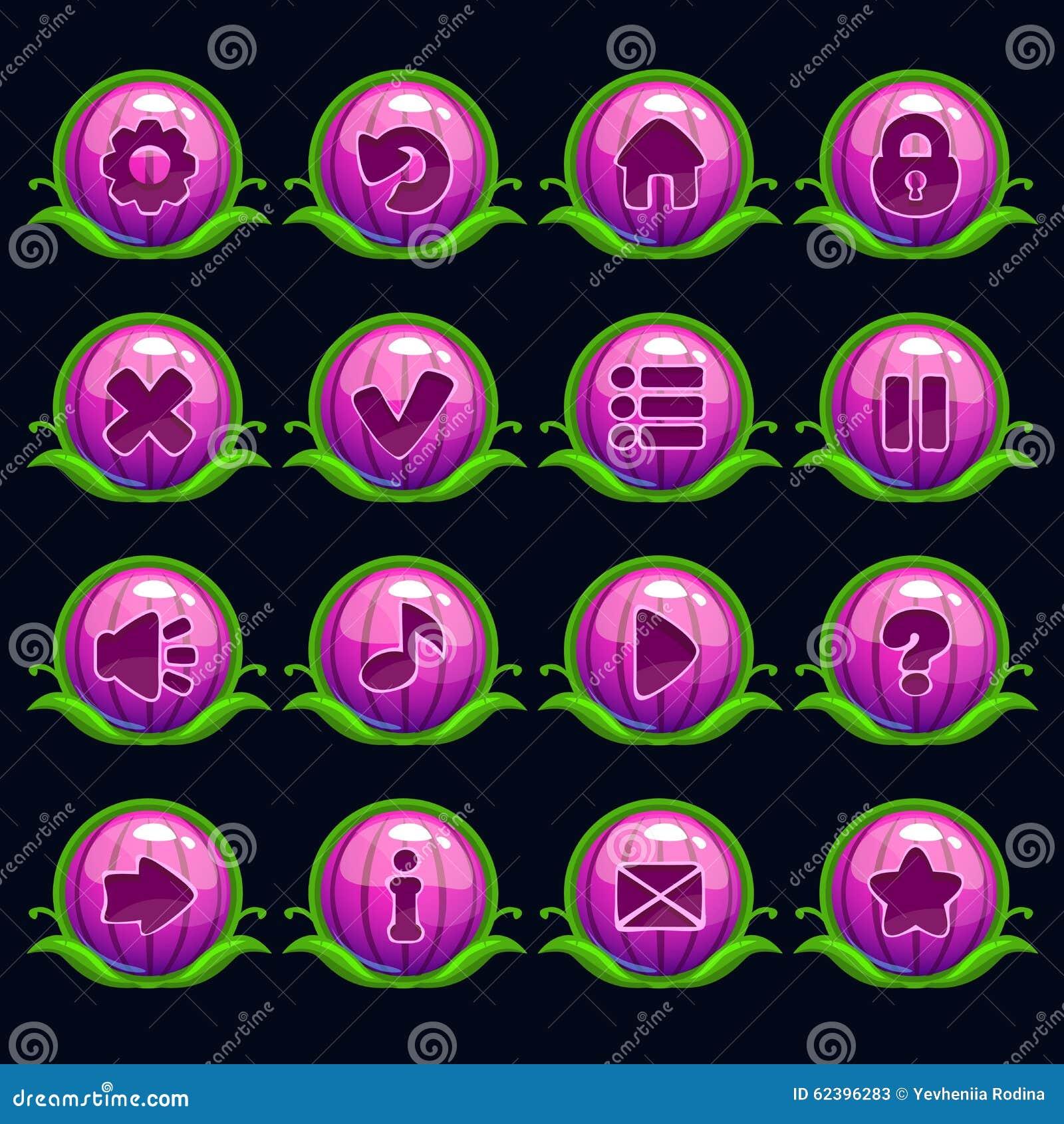 滑稽的动画片紫色圆的菜单按钮