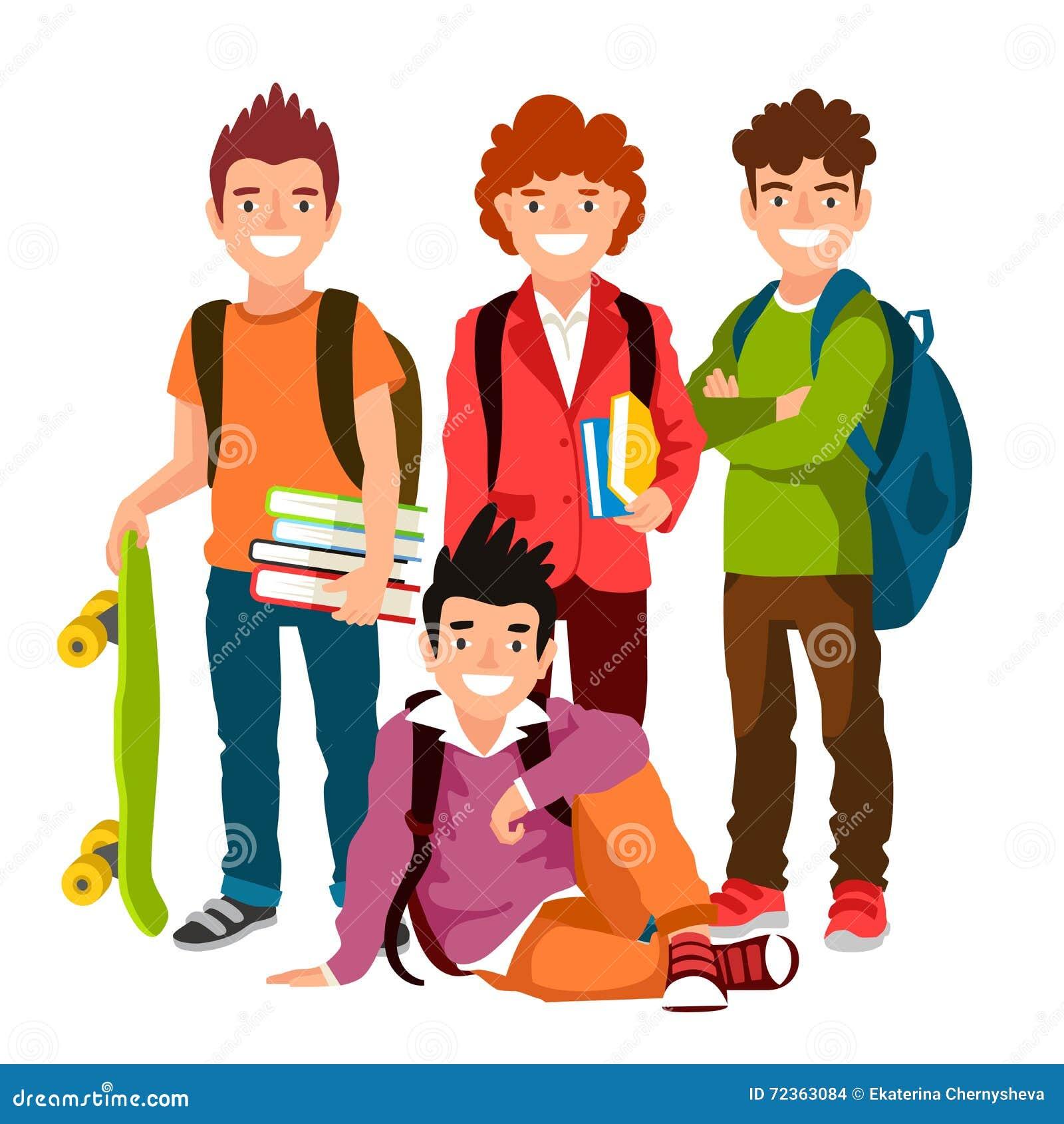 滑稽的小组有背包和课本的男小学生