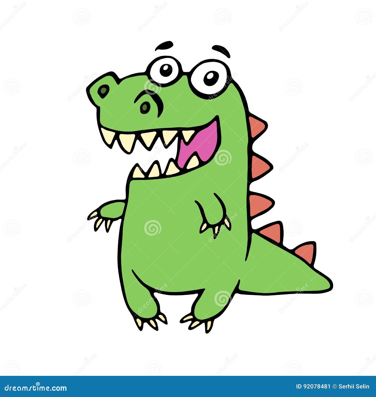 滑稽的微笑的恐龙 也corel凹道例证向量