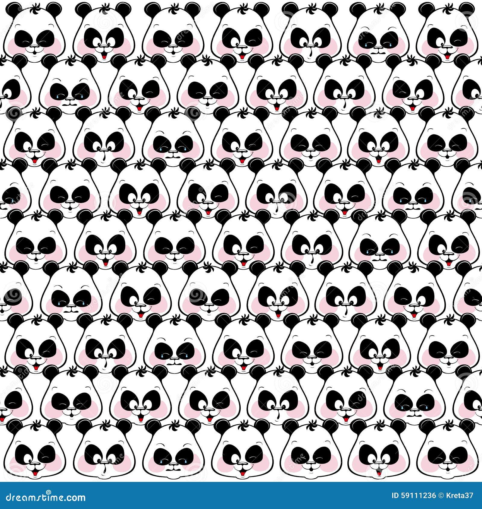滑稽的枪口熊猫的无缝的样式