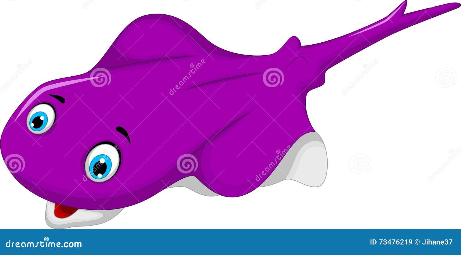滑稽的紫色黄貂鱼动画片