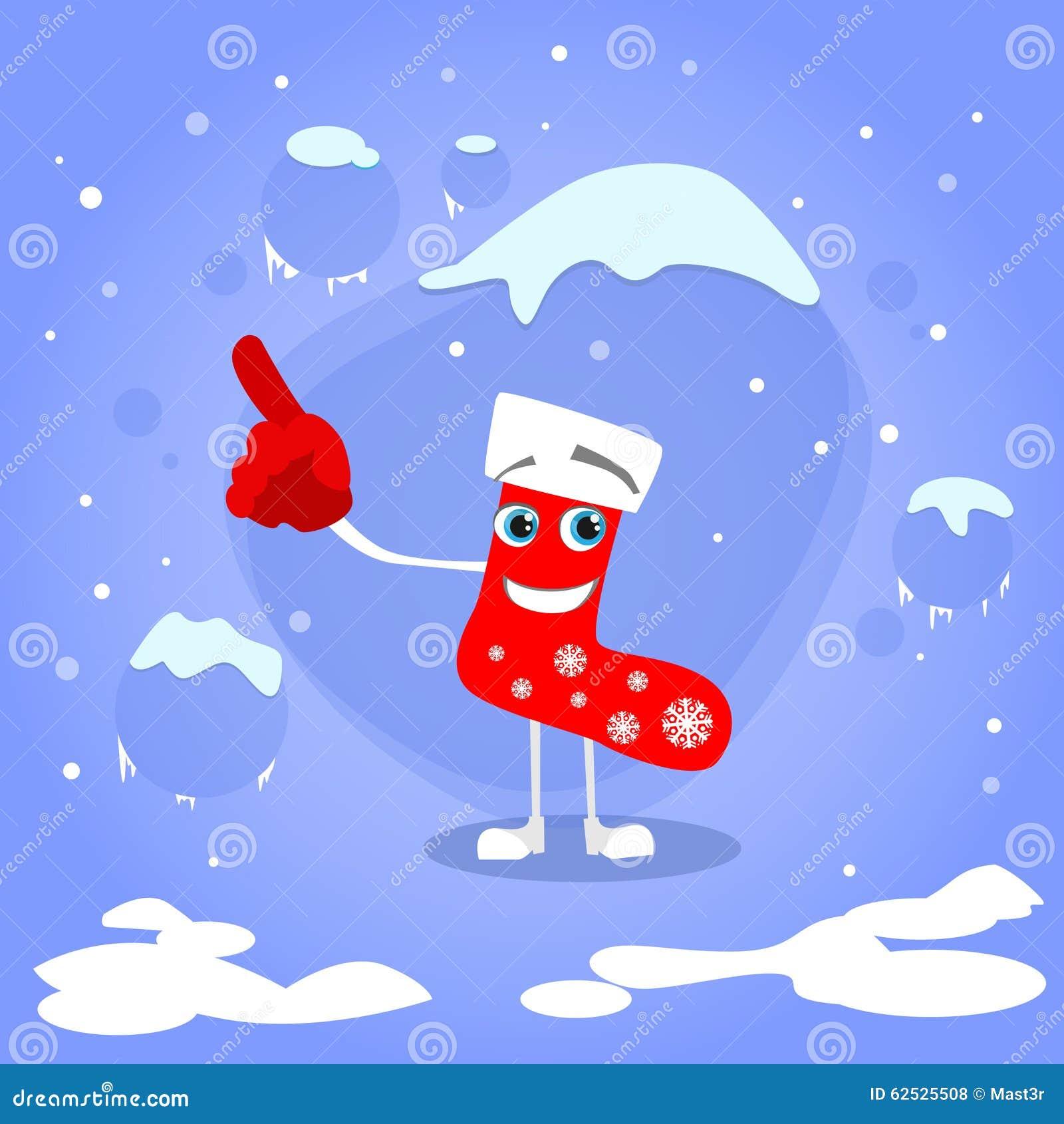 空圣诞节红色袜子点手指的展示
