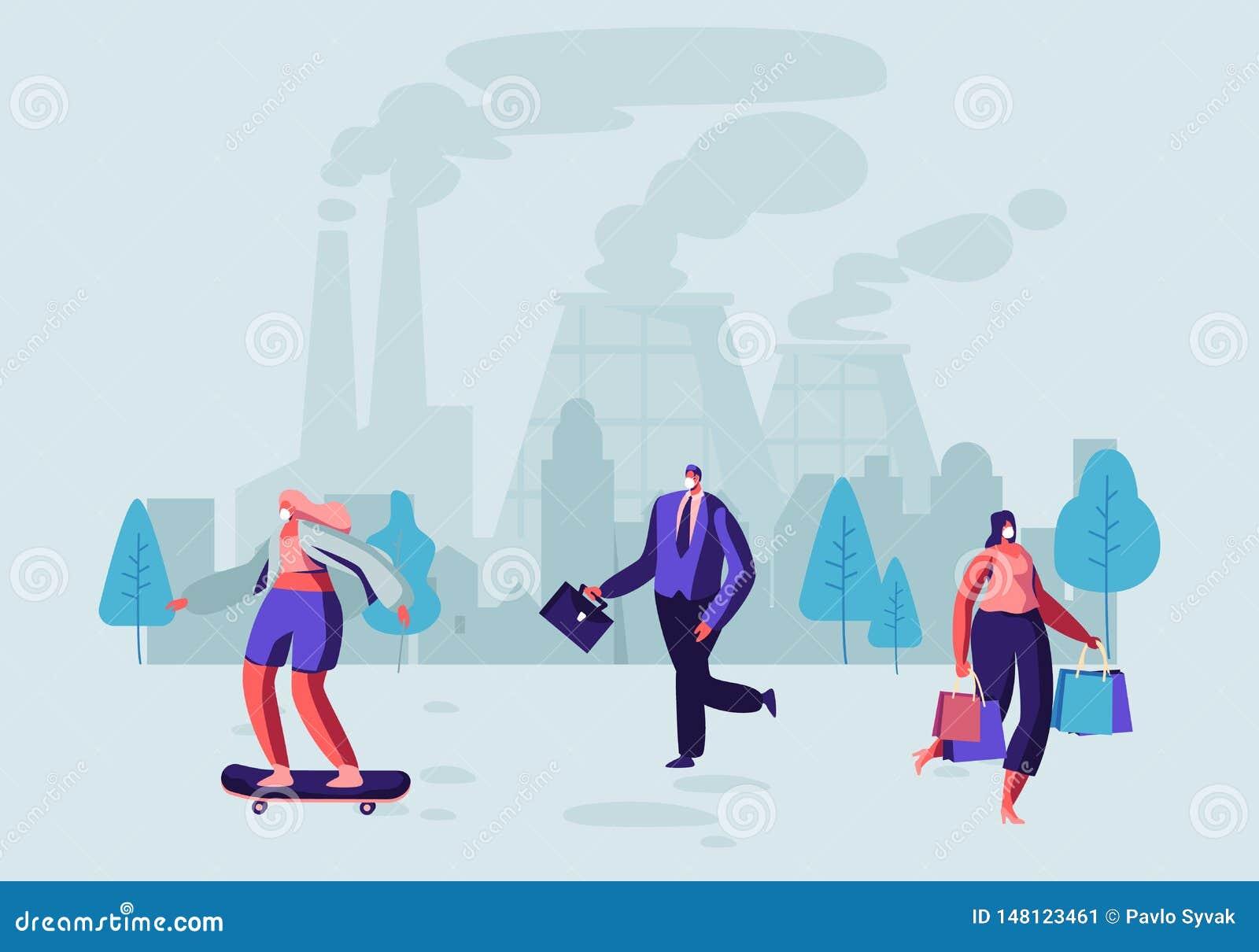空气污染,防护面膜的人们在街道上走反对散发烟的工厂管子 每天生活,美好的尘土