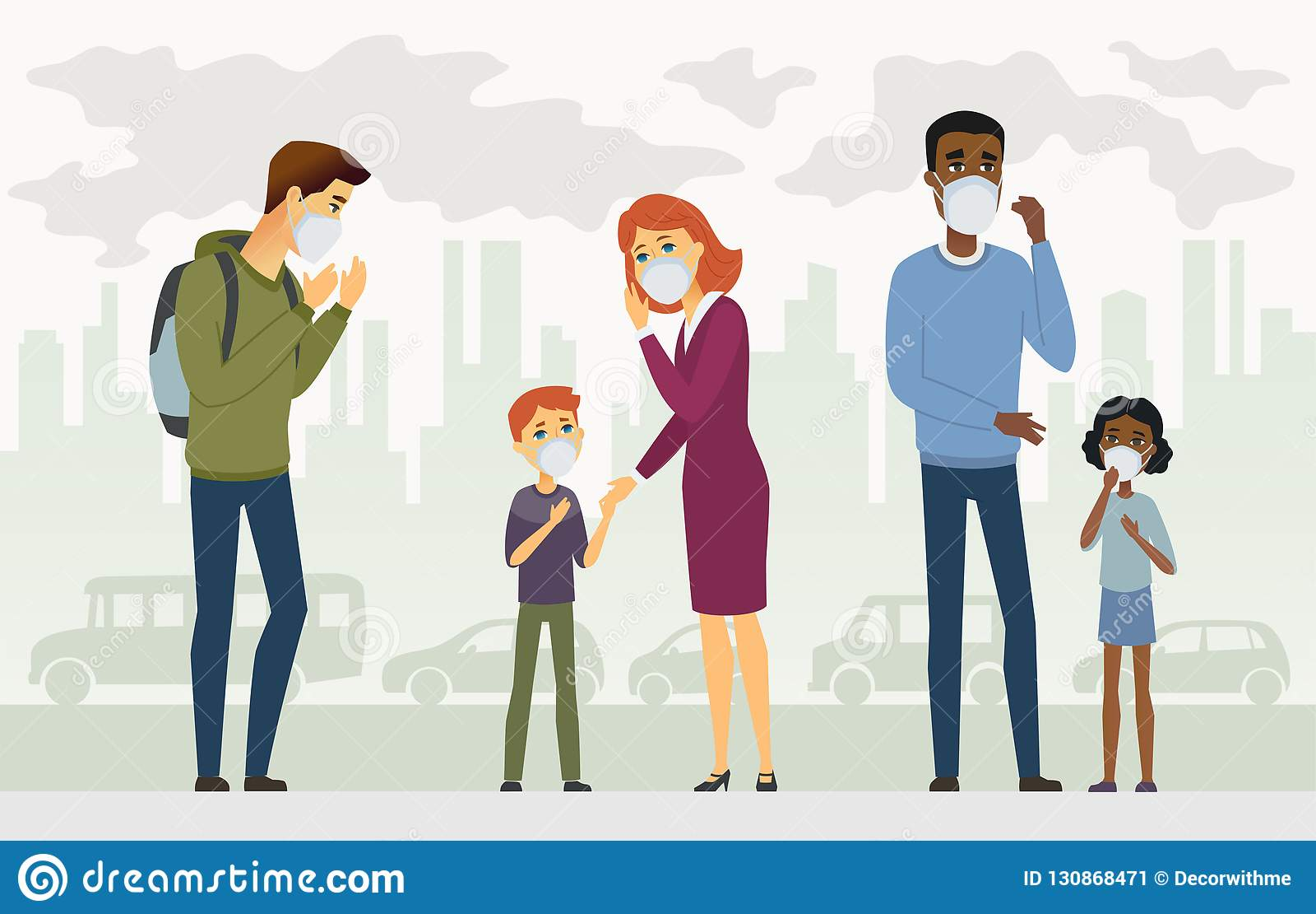 空气污染-动画片人字符传染媒介例证