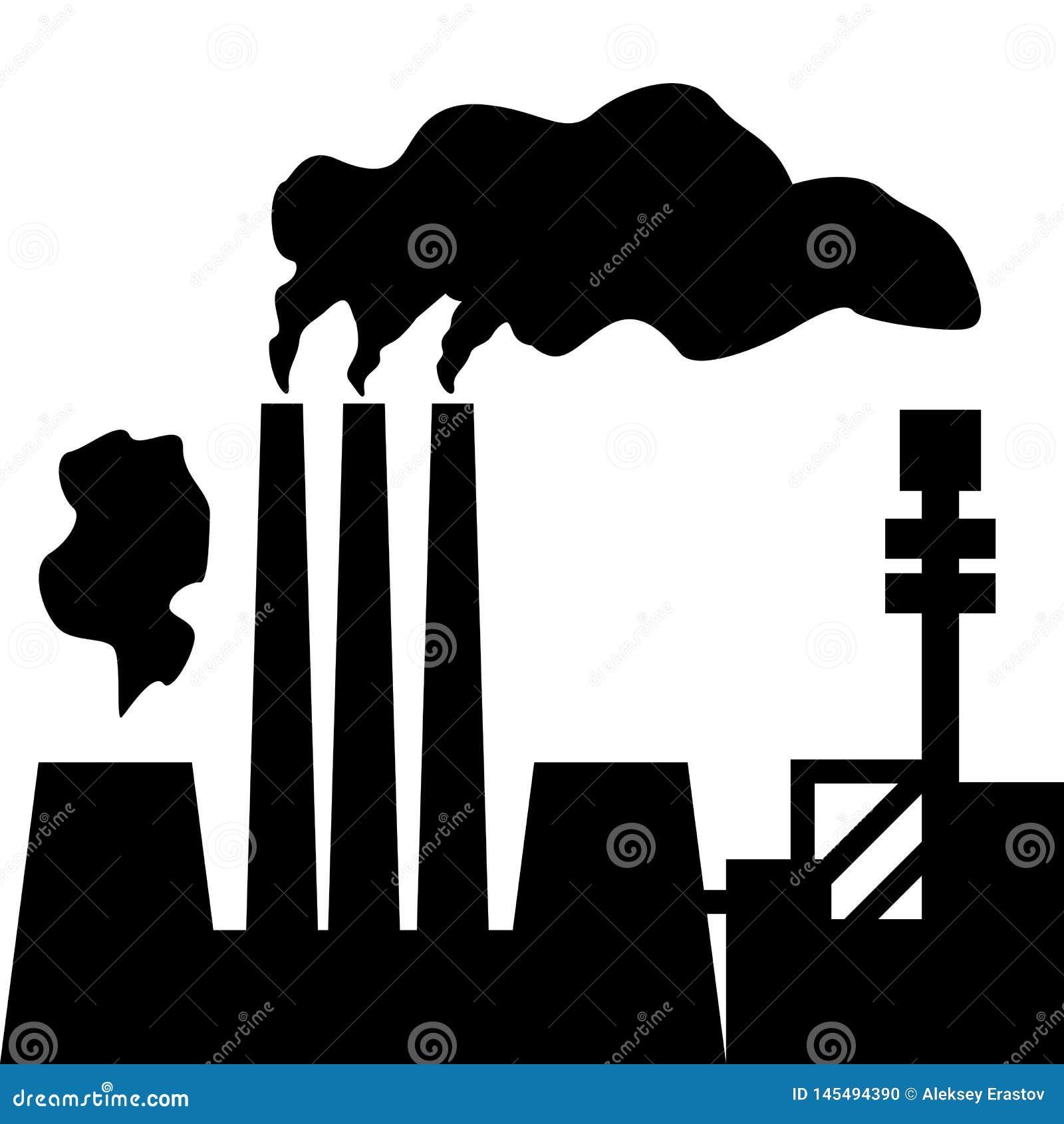 空气污染 工厂剪影有抽烟的烟囱的 r