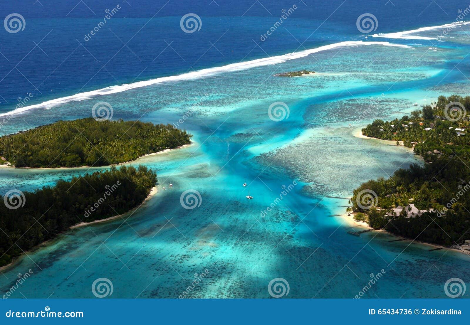 从空气的博拉博拉岛塔希提岛