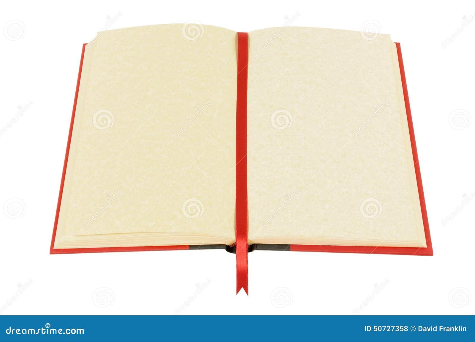 与黄色羊皮纸页的老空白的书和丝带书签被隔绝反对白色背景 复制的图片