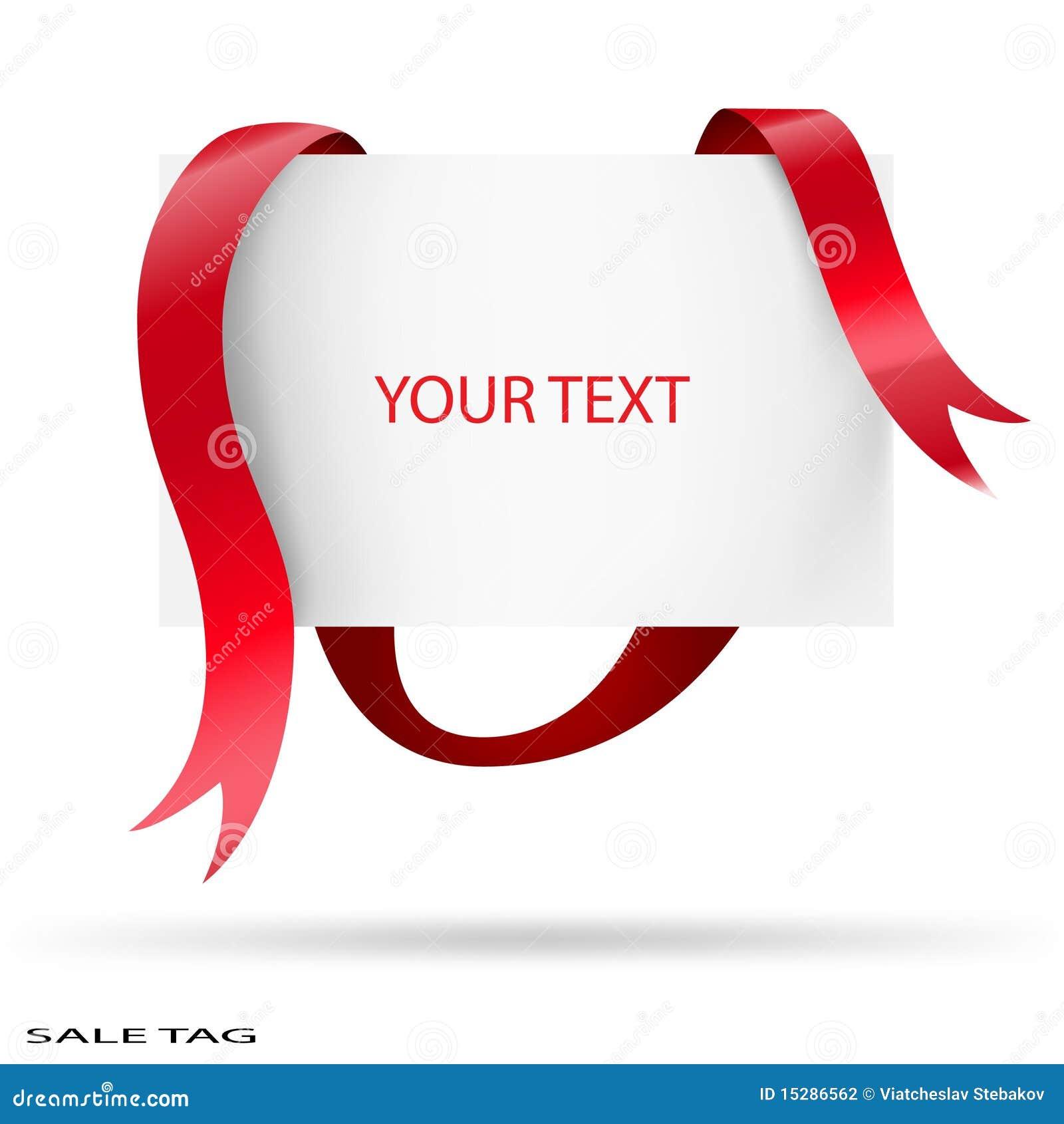 空白例证红色丝带销售额标签向量