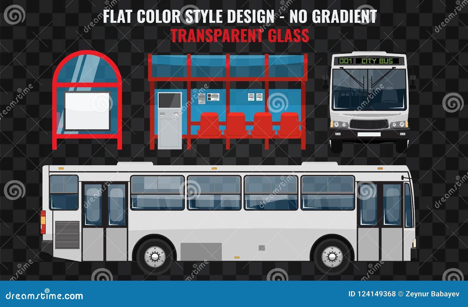 空白公共汽车 旁边和正面图 酷的现代平的设计公共交通工具 公共汽车站结构和城市公共汽车