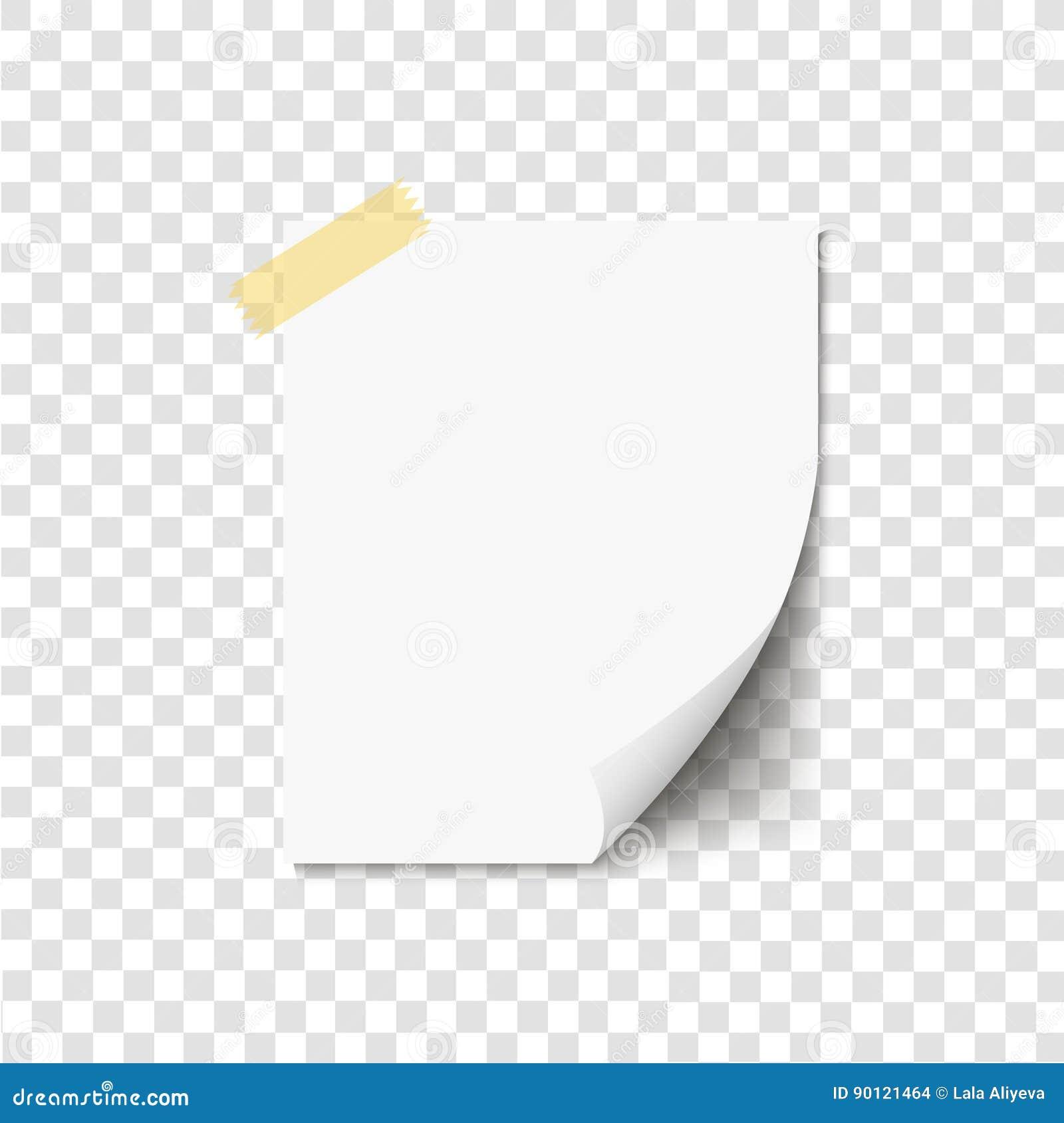 空白卷曲了在稠粘的磁带上的白皮书,为您的消息准备 也corel凹道例证向量